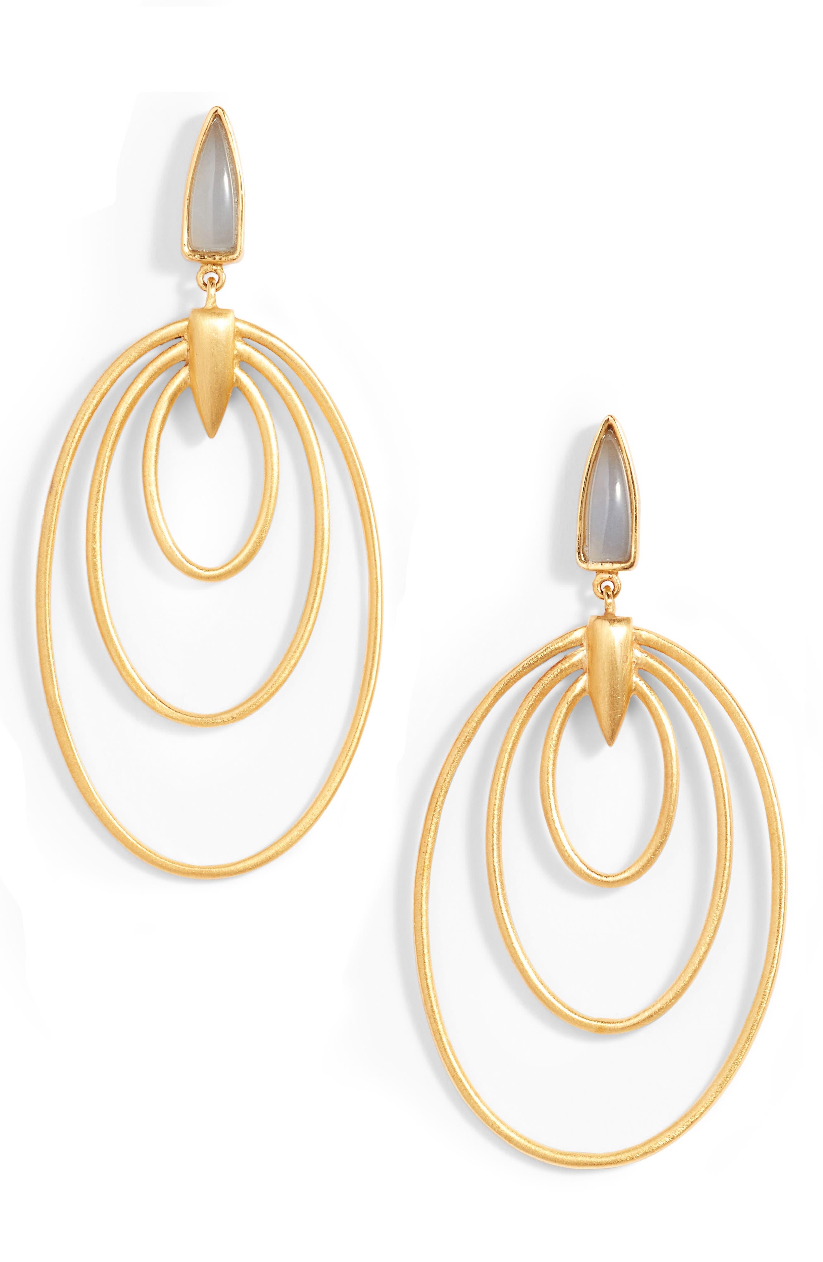 Wave Drop Earrings,                             Main thumbnail 1, color,                             Labradorite/ Gold
