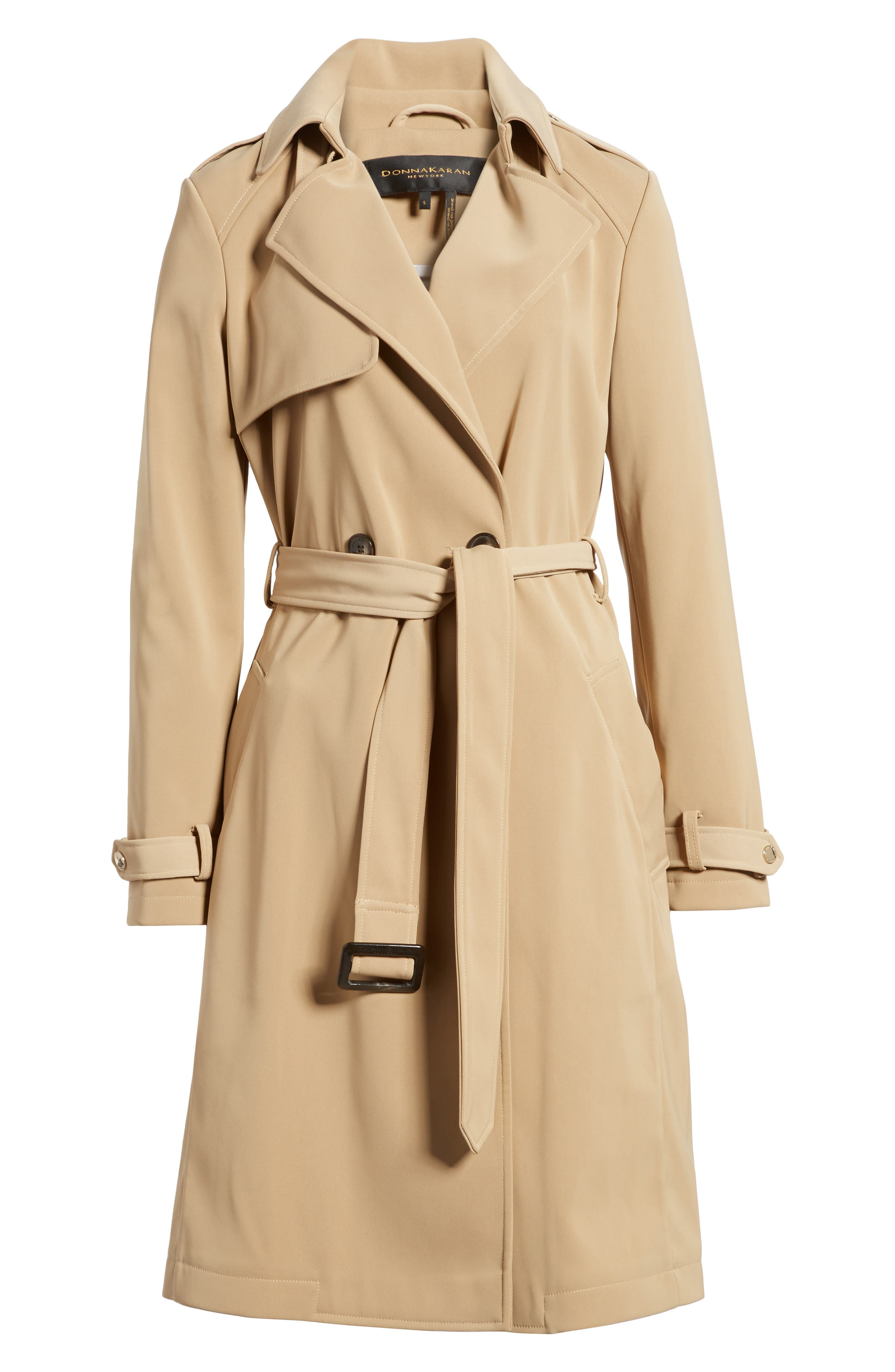 DKNY French Twill Water Resistant Trench Coat,                             Main thumbnail 1, color,                             Khaki