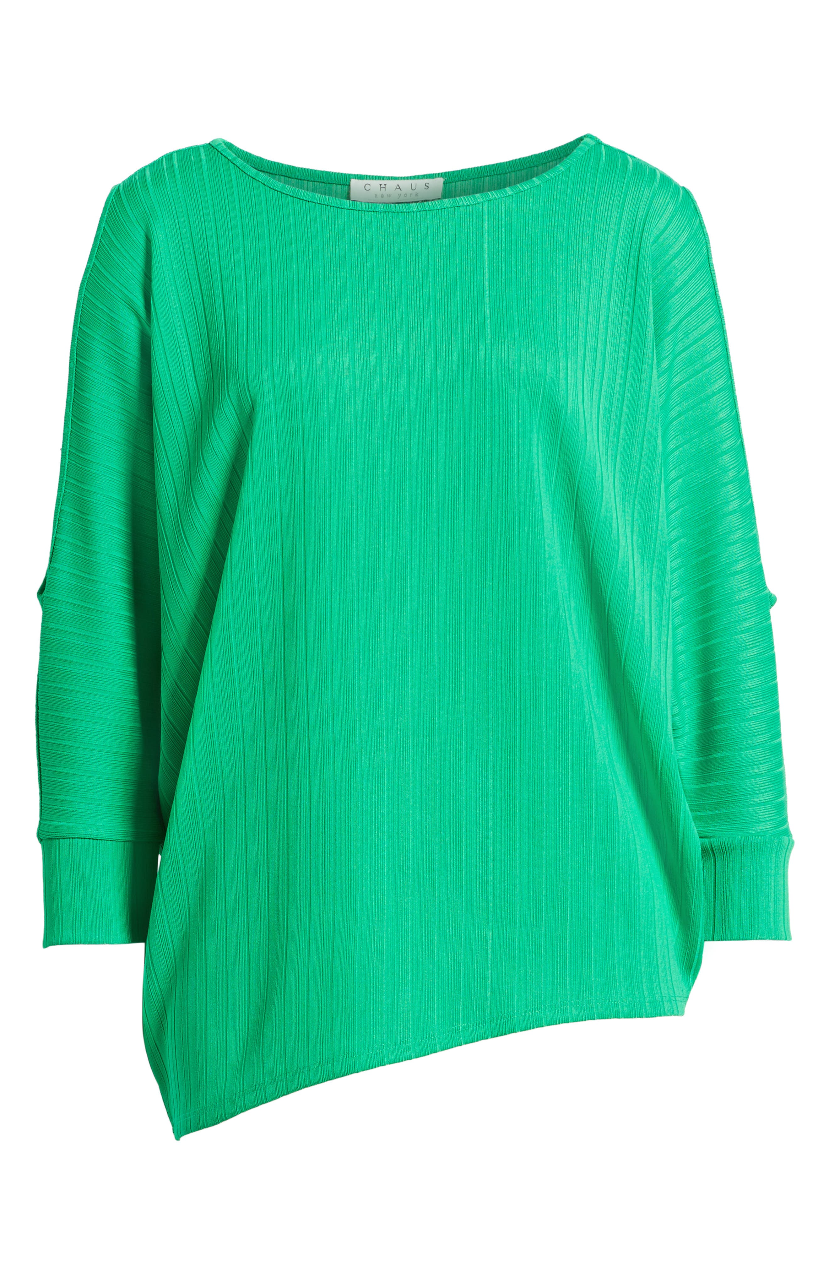 Ribbed Knit Cold Shoulder Top,                             Alternate thumbnail 6, color,                             Bright Amazon