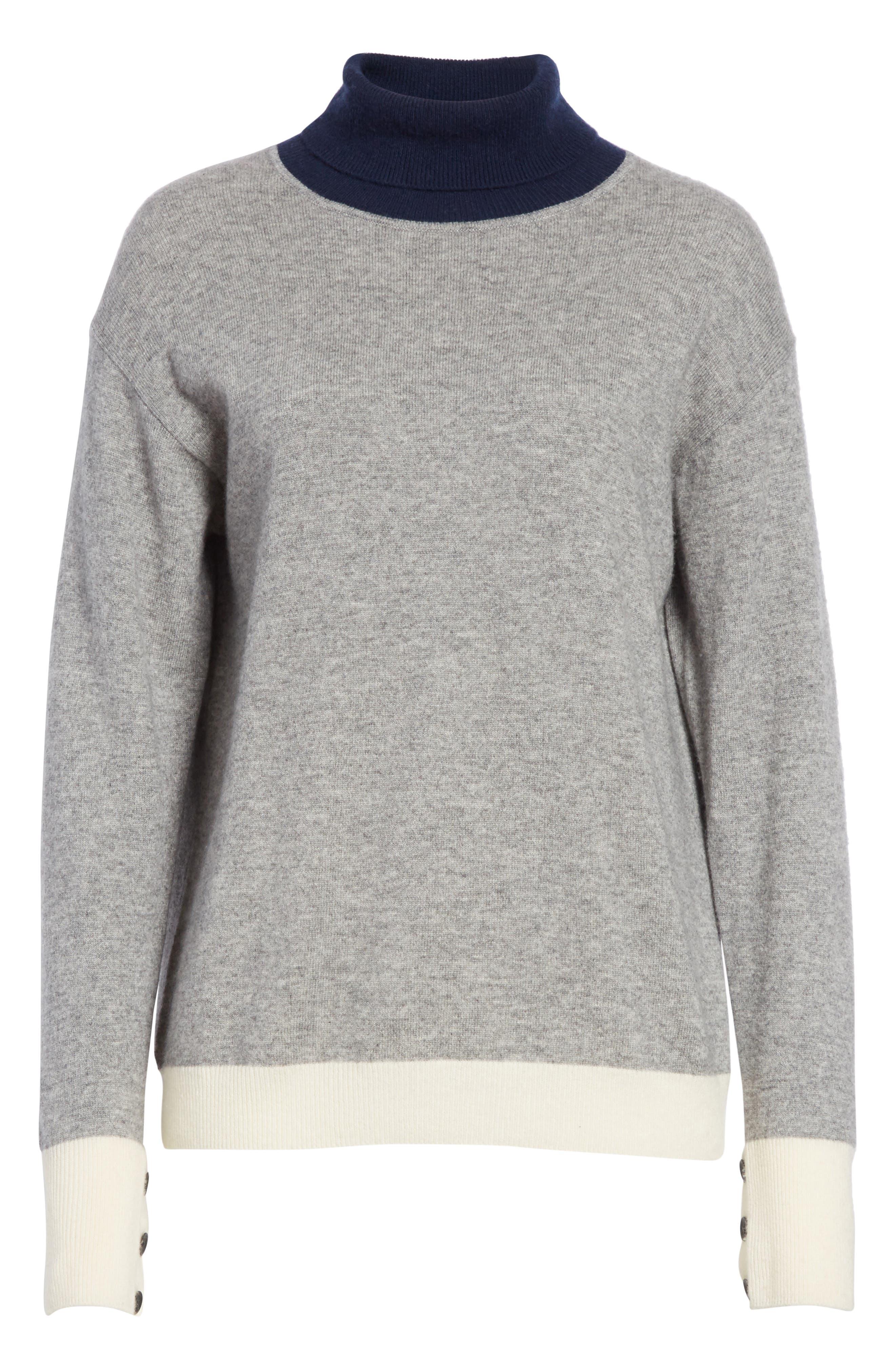 Rhea Wool & Cashmere Turtleneck Sweater,                             Alternate thumbnail 6, color,                             Grey Heather
