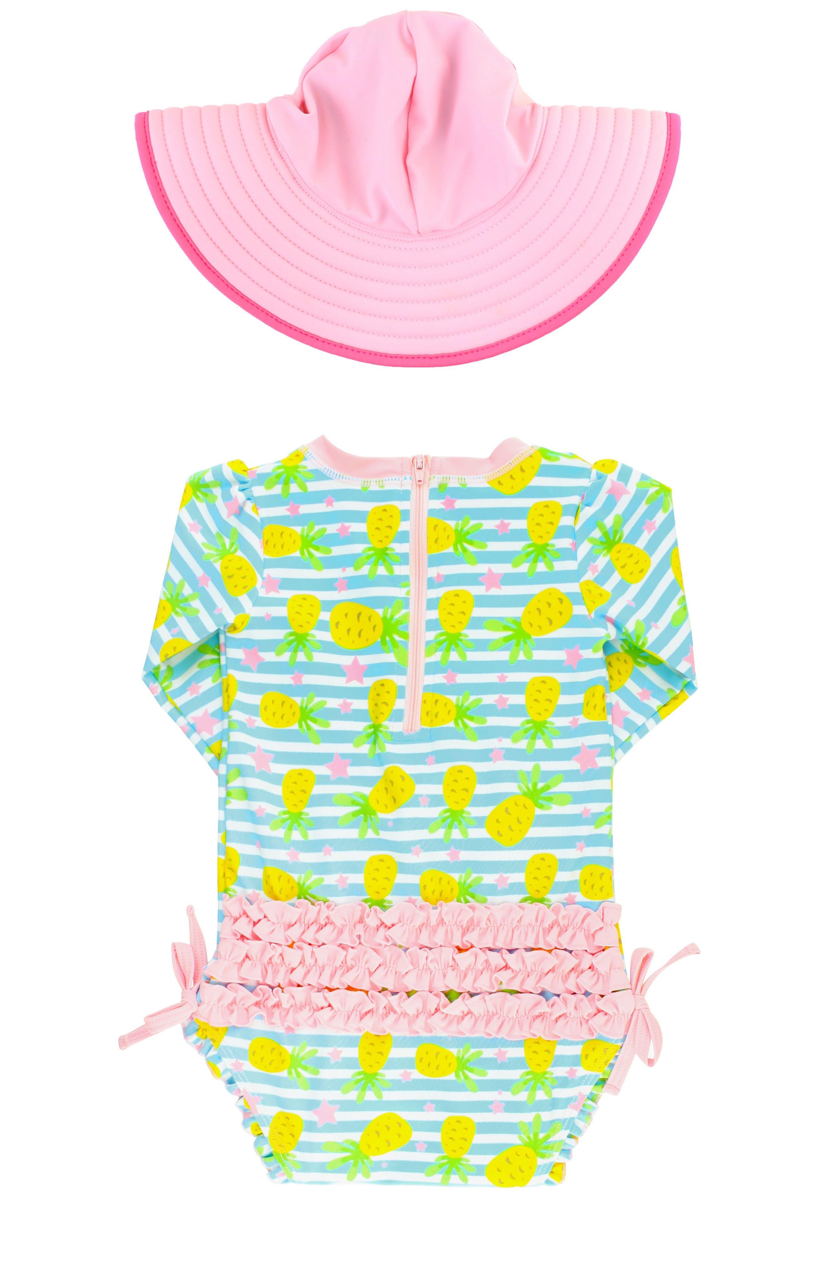 Ruffle Butts Pineapple One-Piece Rashguard Swimsuit & Sun Hat Set,                             Alternate thumbnail 3, color,                             Blue