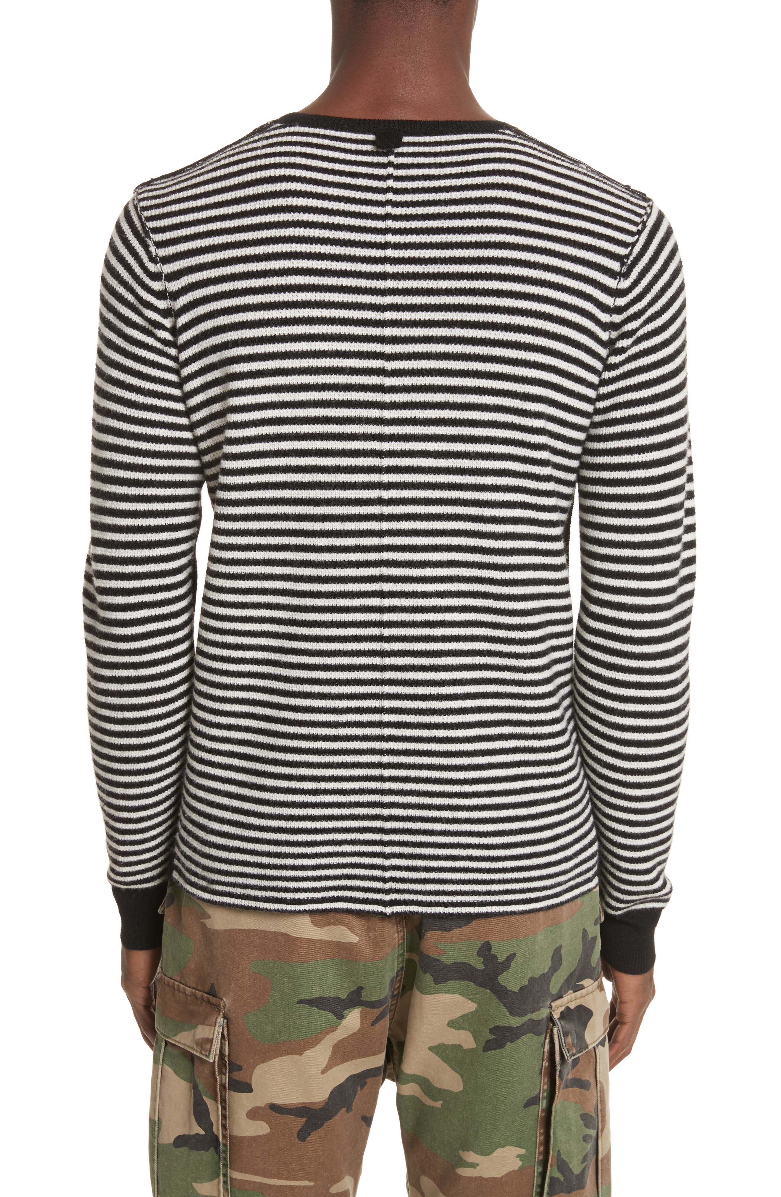 Alternate Image 2  - Ovadia & Sons Stripe Waffle Knit Wool Sweater