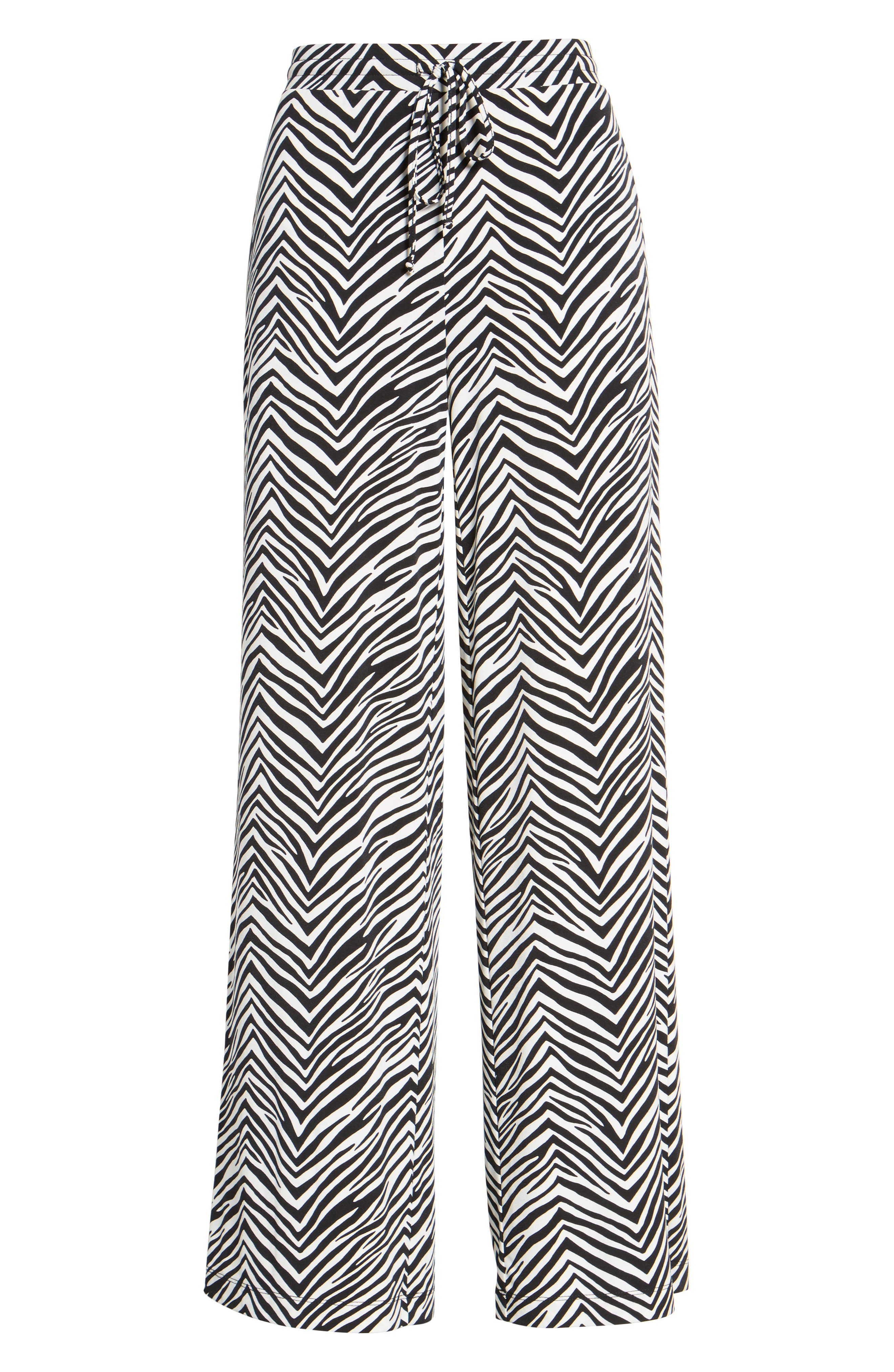 Zebra Print Drawstring Waist Pants,                             Alternate thumbnail 6, color,                             Rich Black