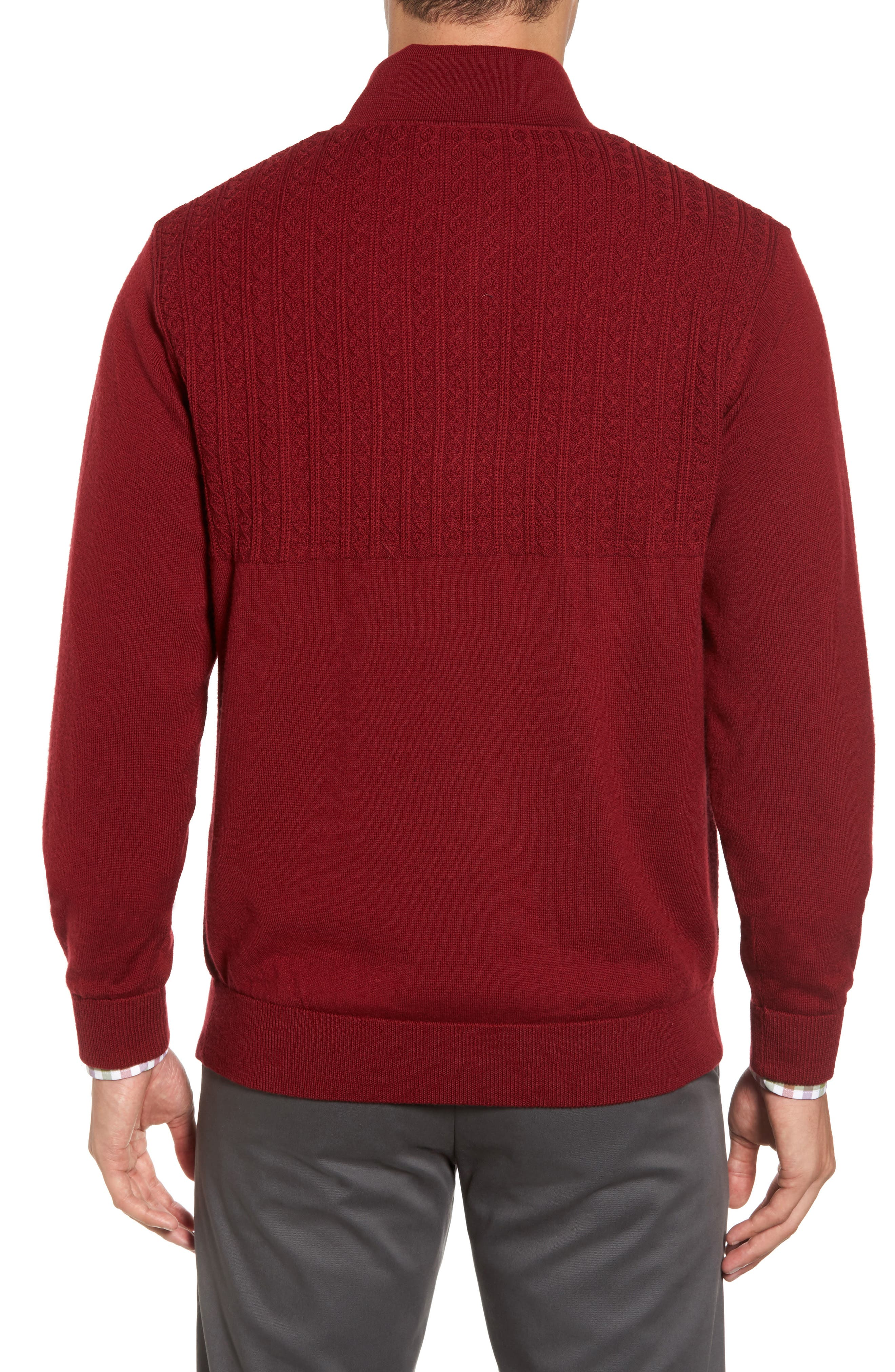 Cable Wind Wool Sweater,                             Alternate thumbnail 2, color,                             Brick Red