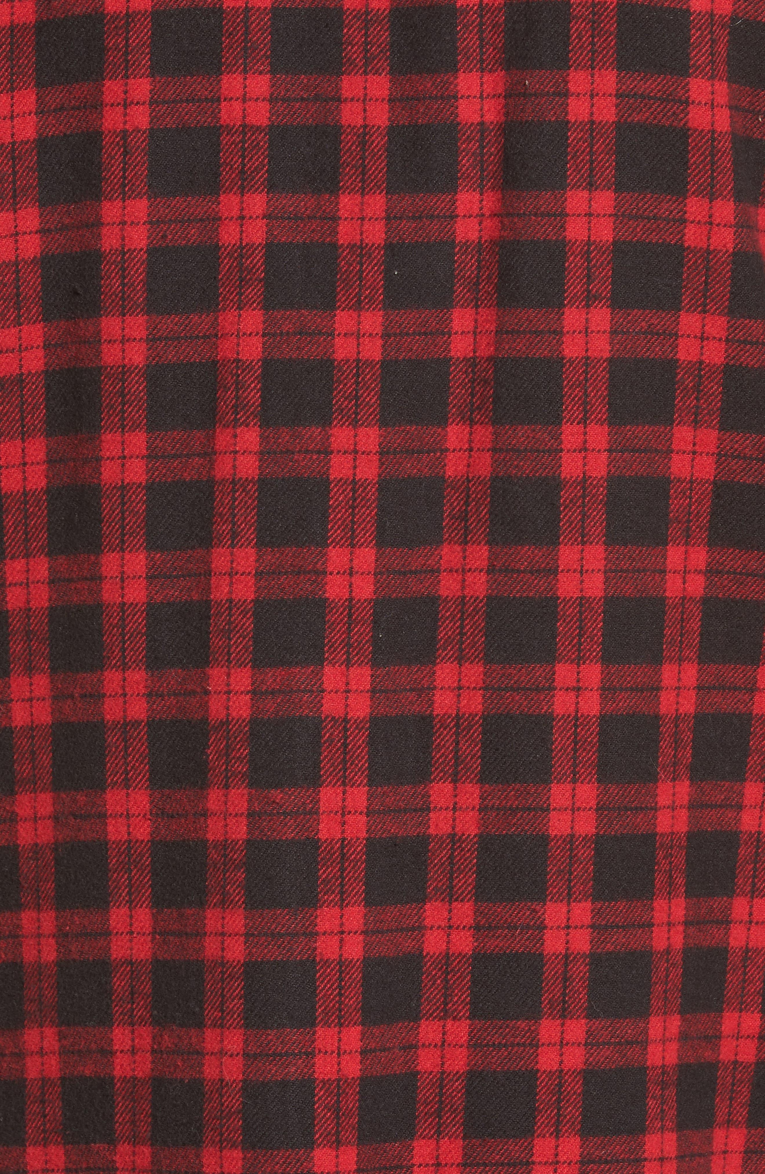 Rhea Check Flannel Shirt,                             Alternate thumbnail 5, color,                             Red