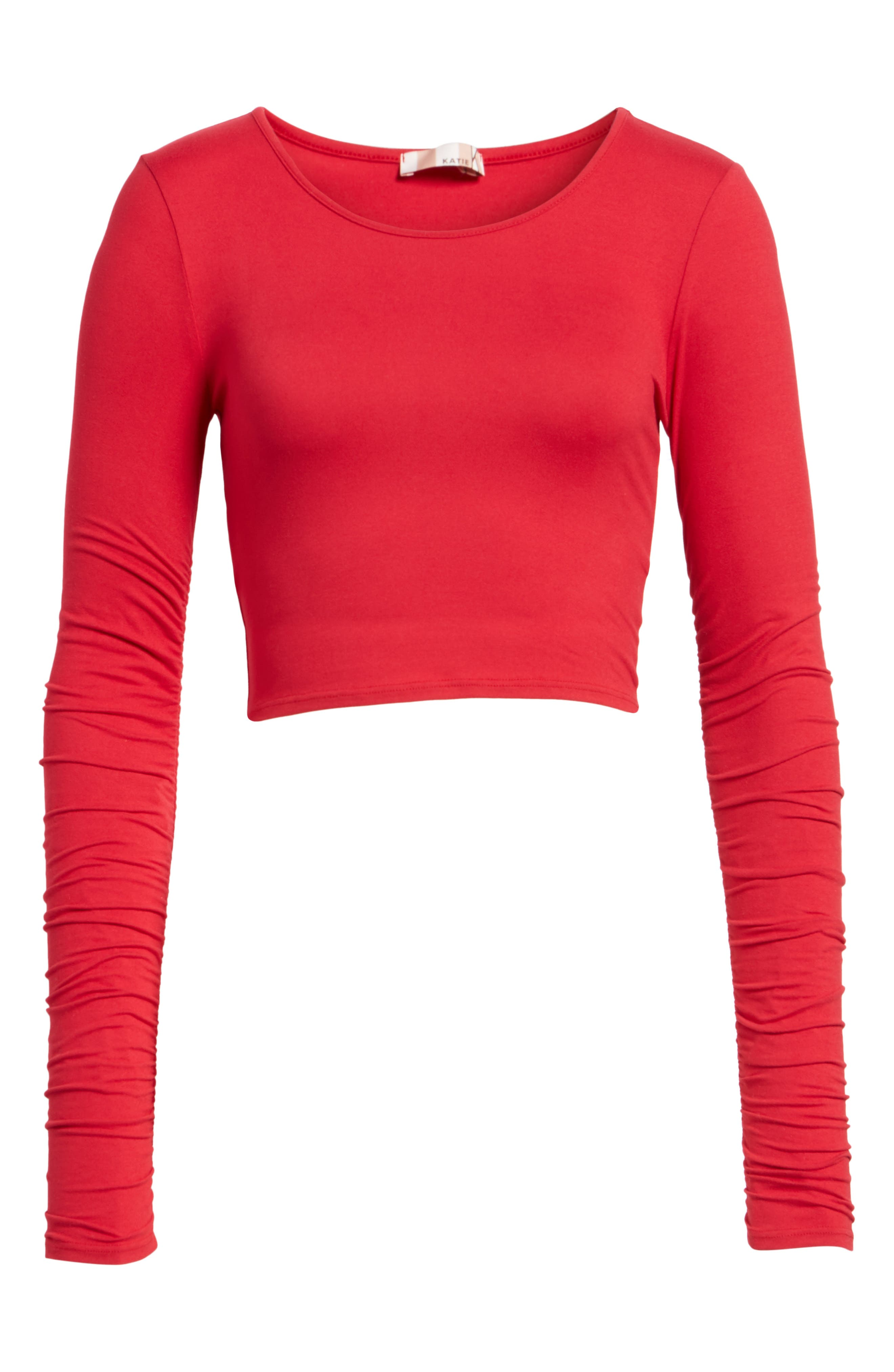 Ruched Sleeve Crop Tee,                             Alternate thumbnail 6, color,                             Red