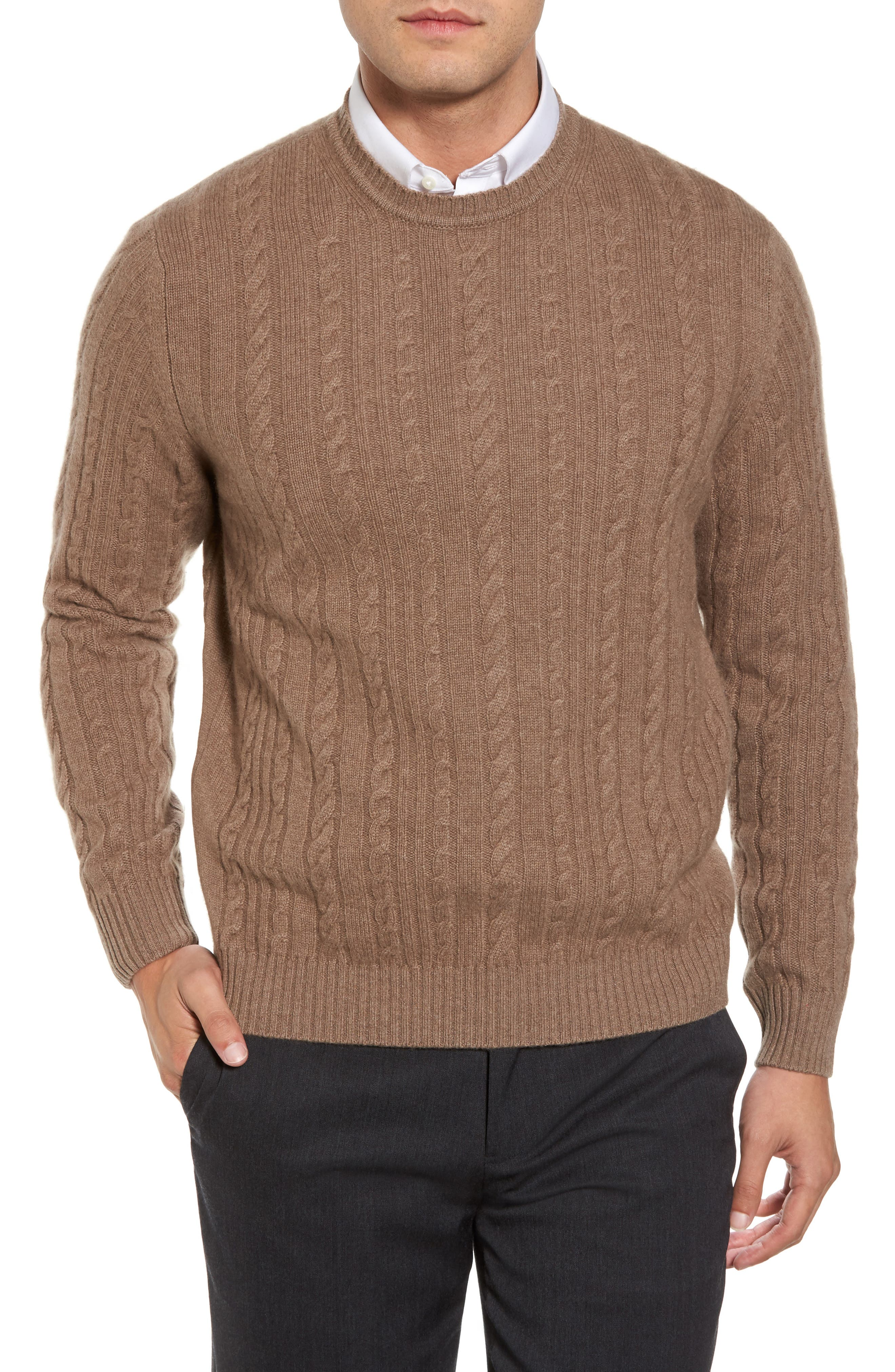 Main Image - David Donahue Cable Knit Cashmere Sweater