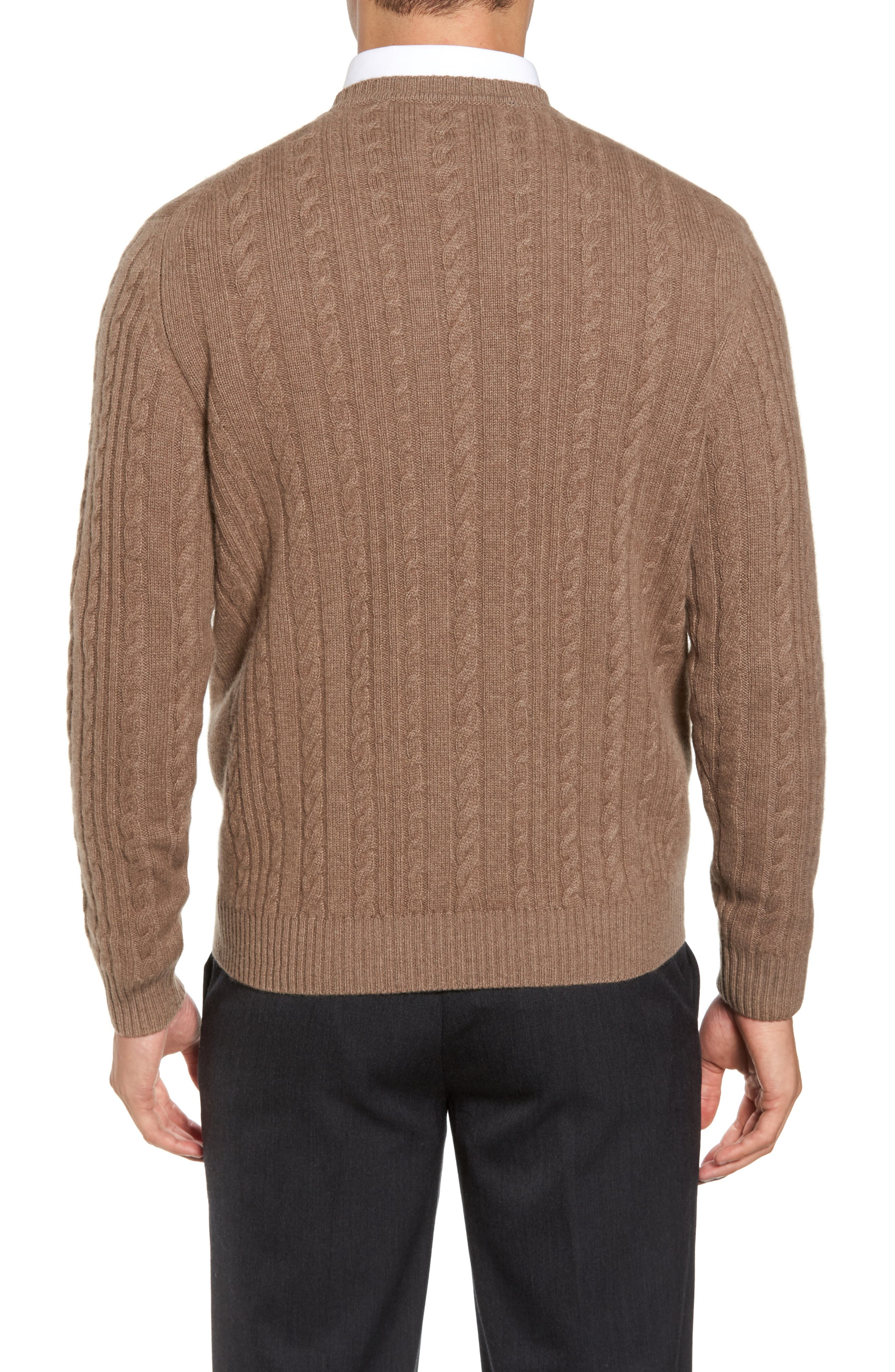 Alternate Image 2  - David Donahue Cable Knit Cashmere Sweater