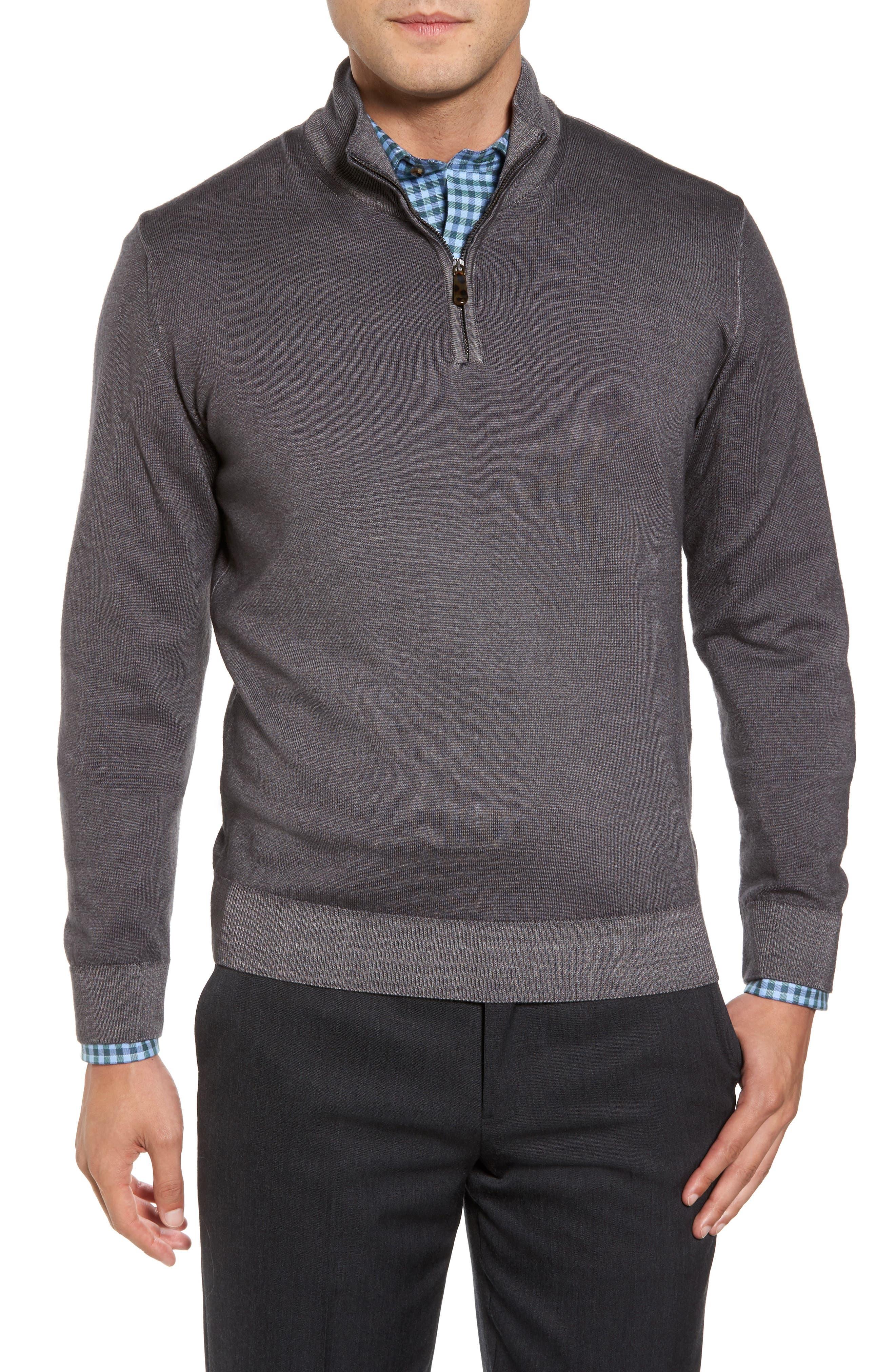 Main Image - David Donahue Ice Merino Wool Quarter Zip Pullover