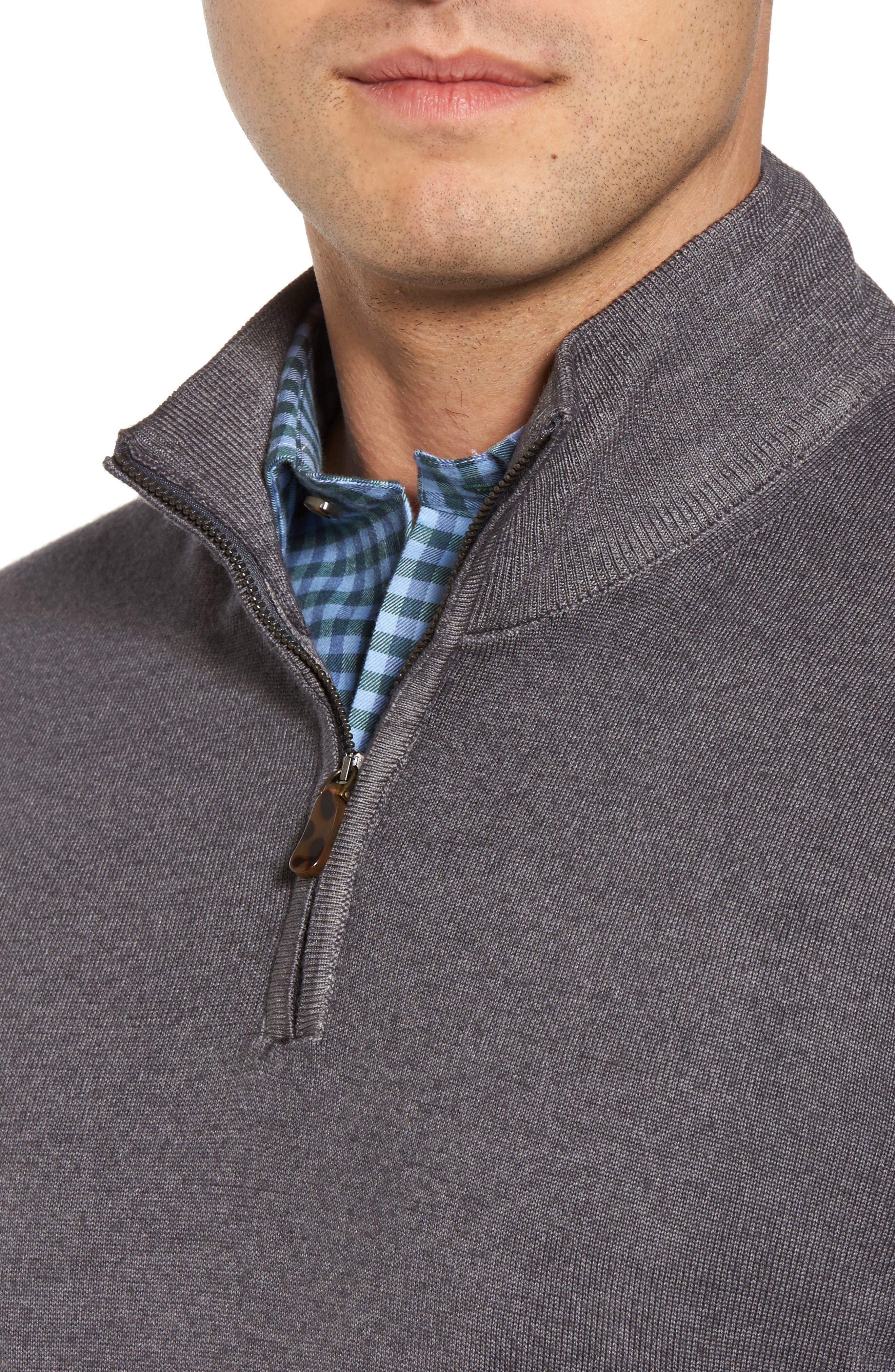 Alternate Image 4  - David Donahue Ice Merino Wool Quarter Zip Pullover