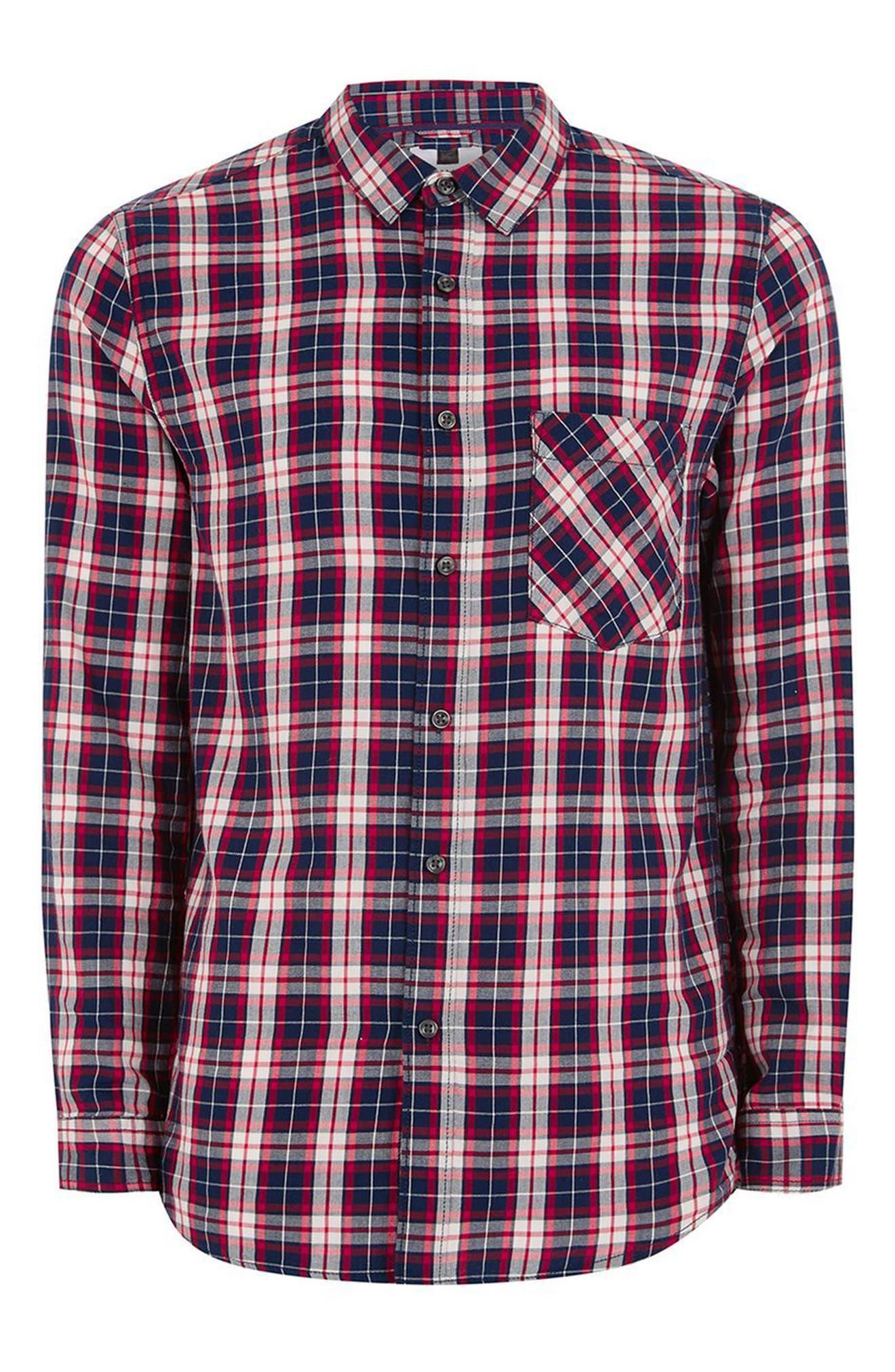 Classic Fit Check Shirt,                             Alternate thumbnail 4, color,                             Navy Multi