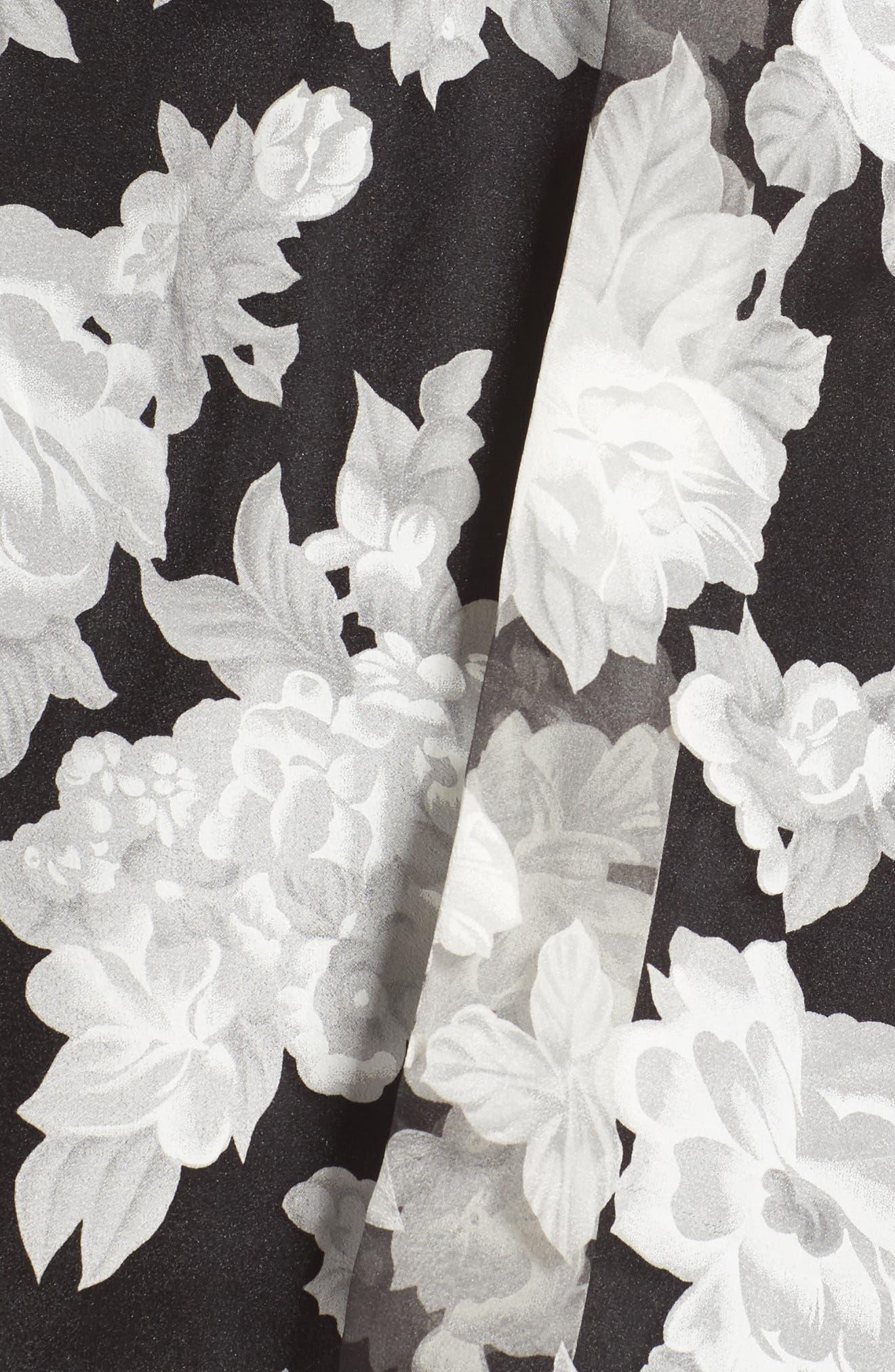 Print Organza Fit & Flare Dress,                             Alternate thumbnail 5, color,                             Black/ Ivory