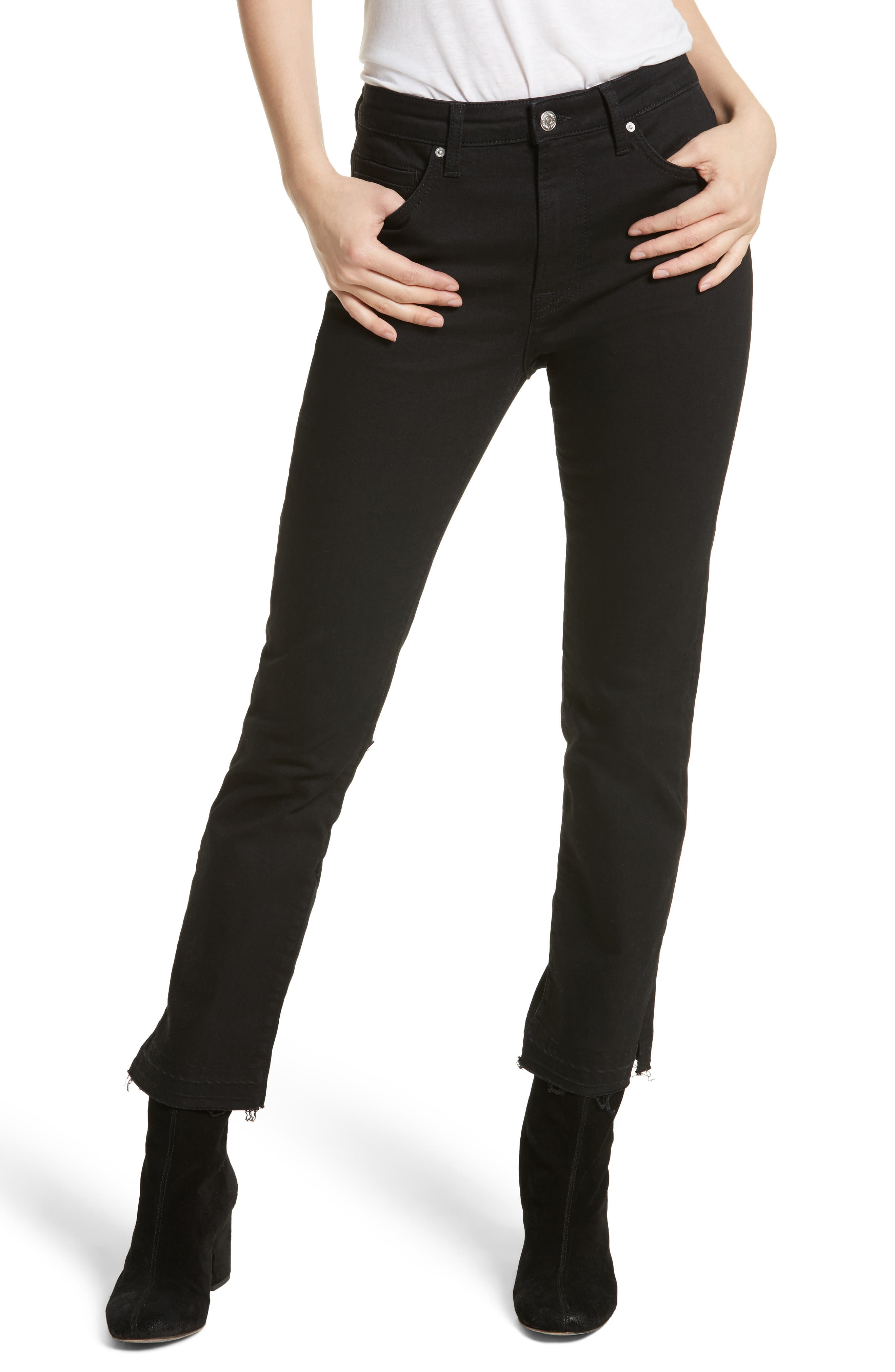 Crop Cigarette Jeans,                         Main,                         color, Black