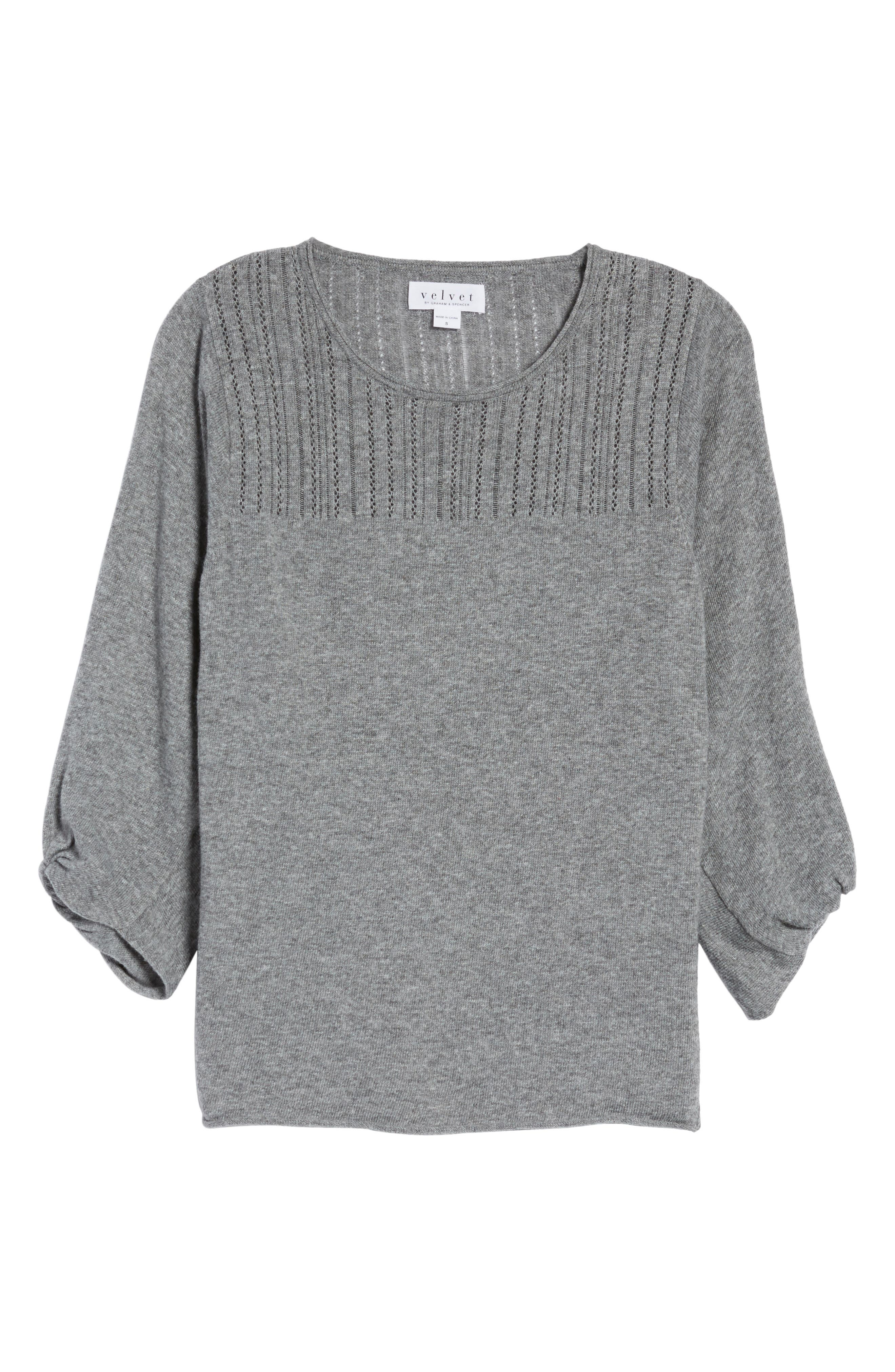 Pointelle Yoke Sweater,                             Alternate thumbnail 6, color,                             Heather Grey