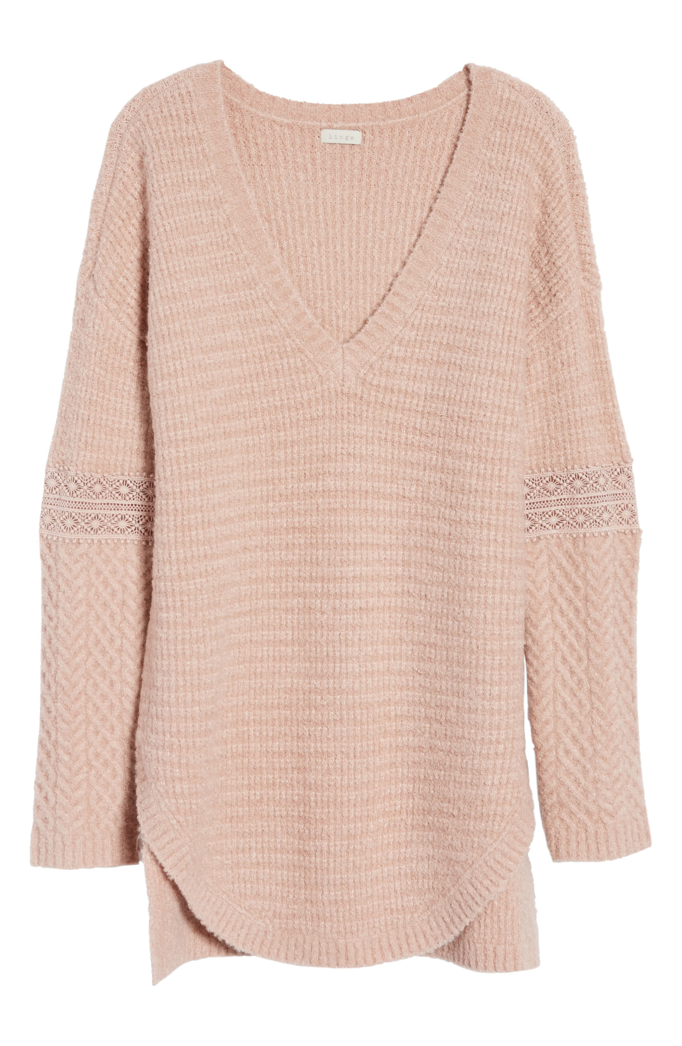 Lace Inset V-Neck Sweater,                             Alternate thumbnail 6, color,                             Pink Adobe