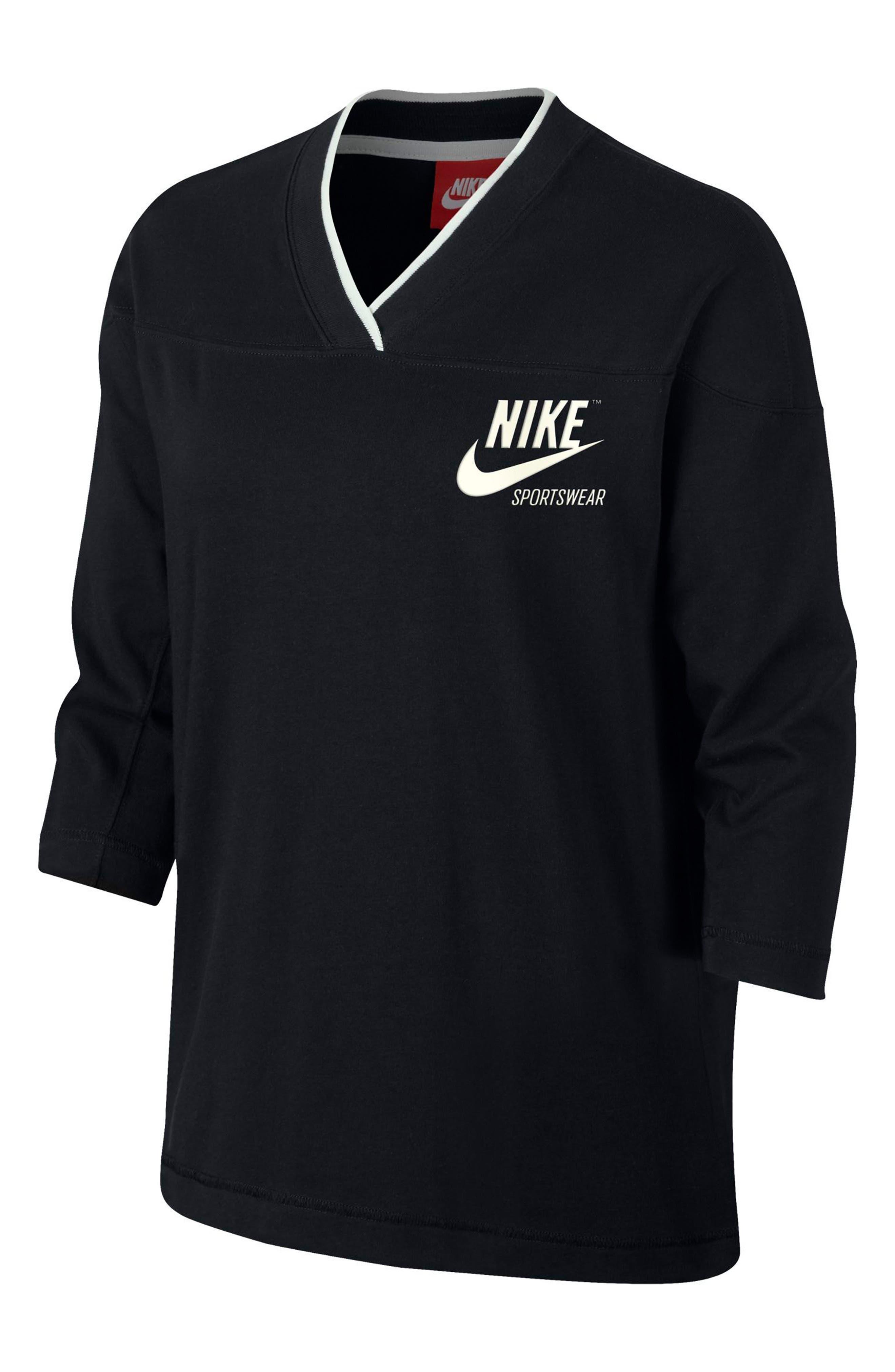 Sportswear Women's V-Neck Top,                             Main thumbnail 1, color,                             Black/ Sail