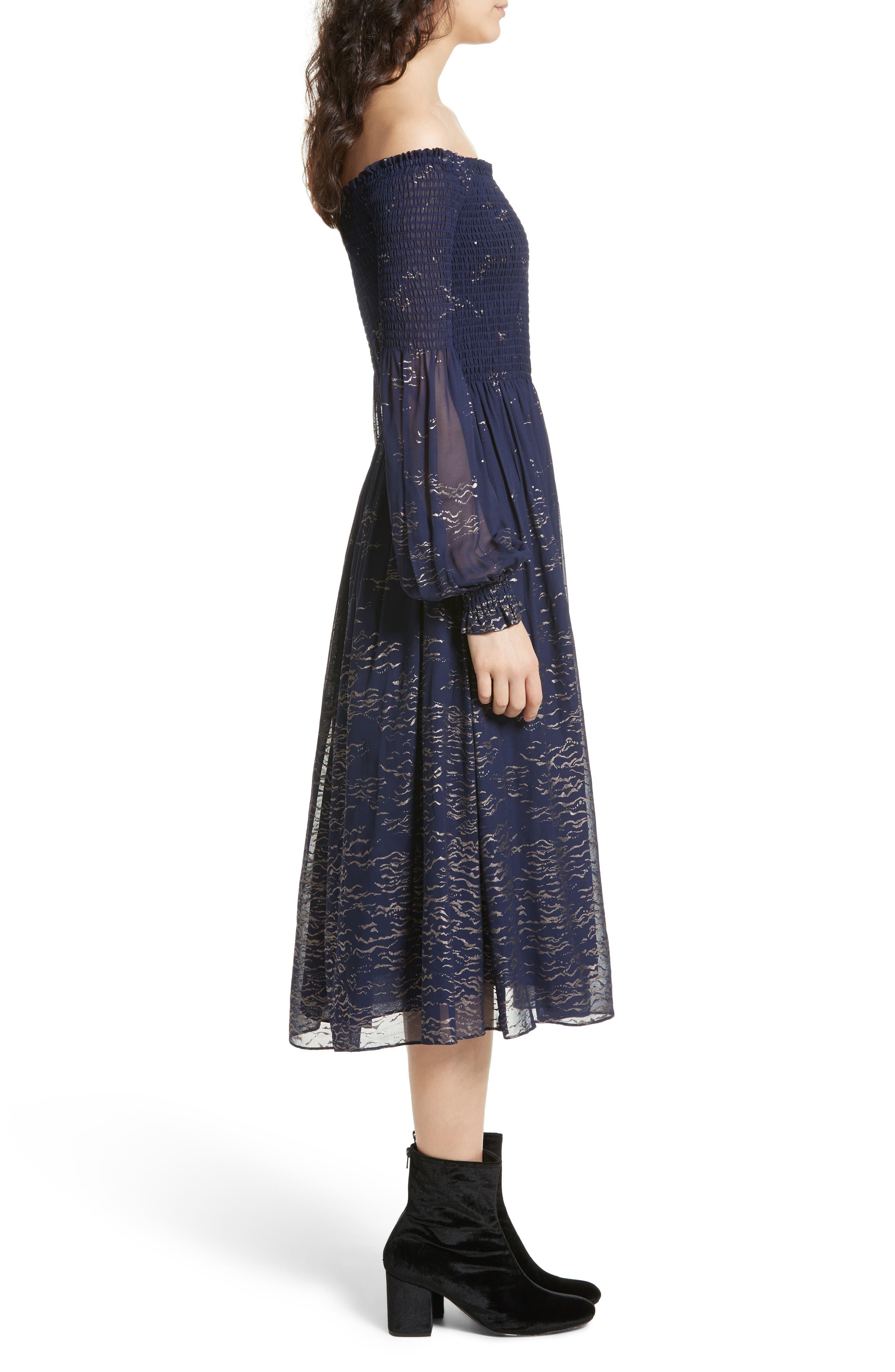 Foiled Smocked Midi Dress,                             Alternate thumbnail 3, color,                             Blue Combo