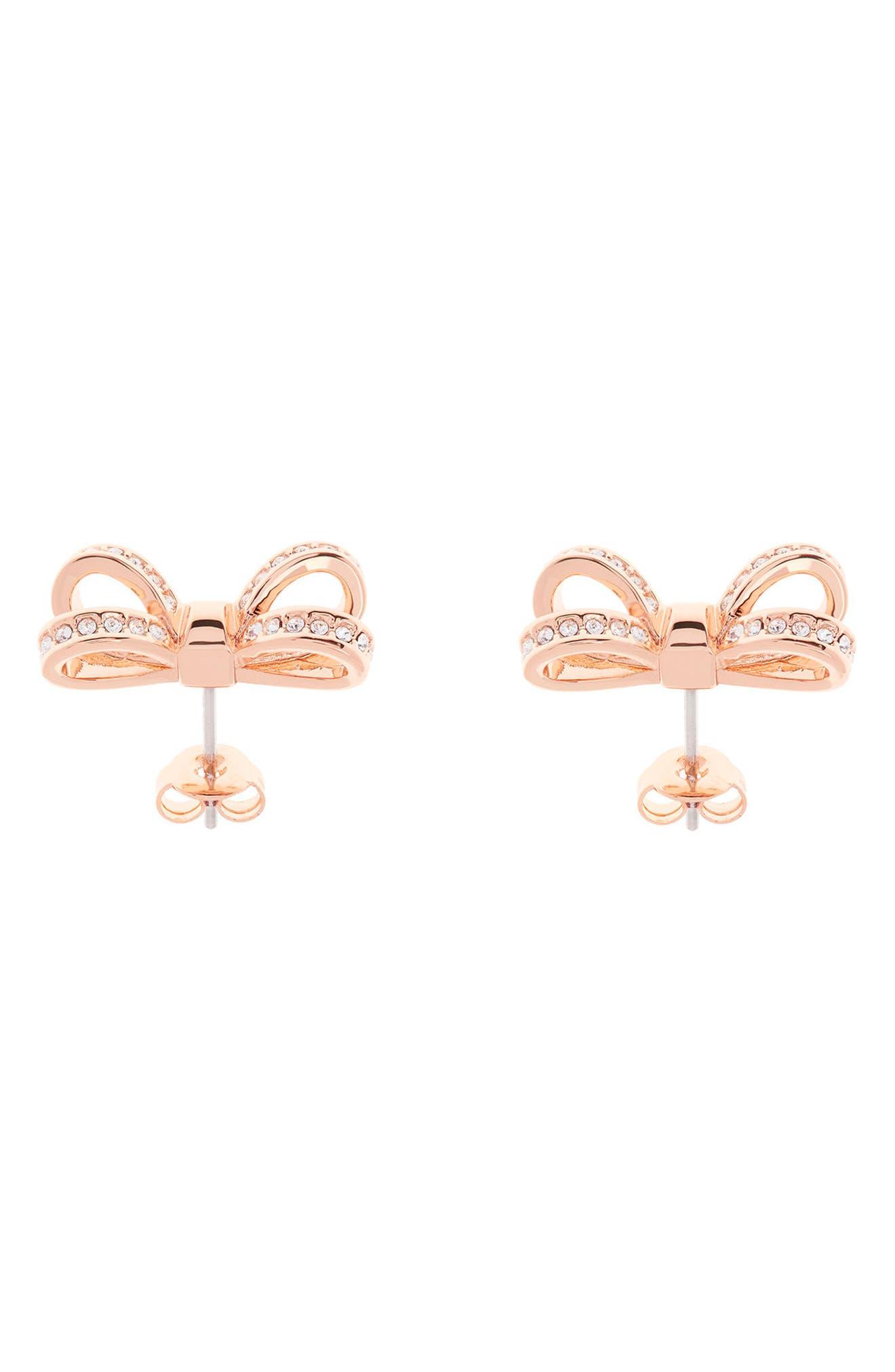 Mini Opulent Pavé Bow Stud Earrings,                             Alternate thumbnail 2, color,                             Rose Gold