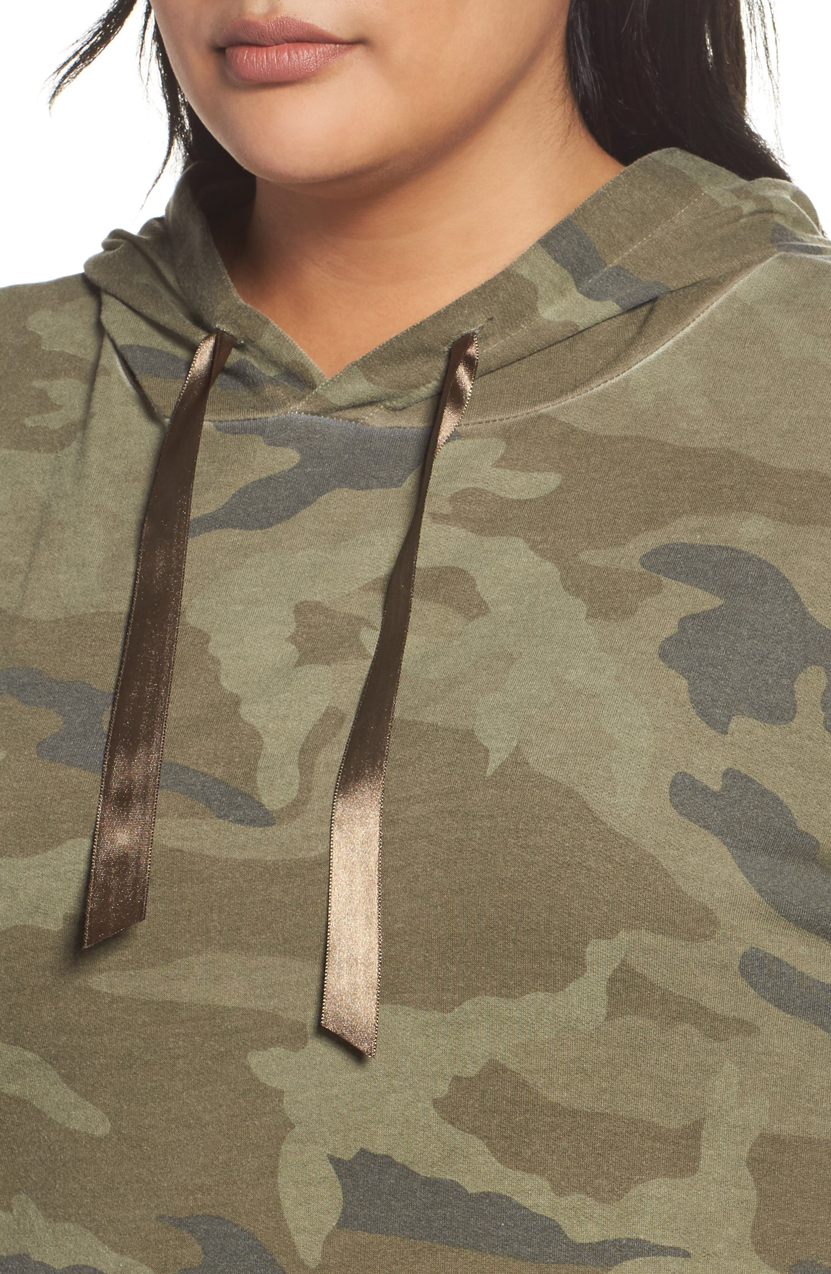 Camo Print Hoodie,                             Alternate thumbnail 4, color,                             Military Olive