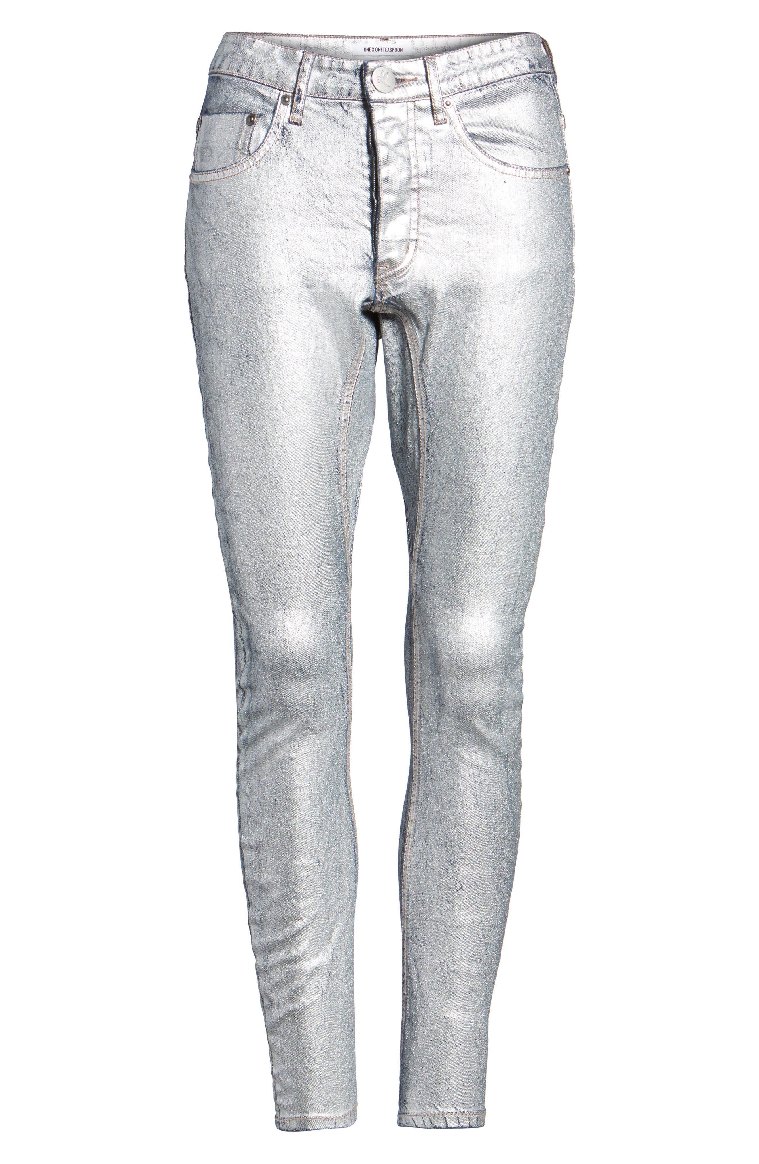 Kidds Metallic Drop Crotch Skinny Jeans,                             Alternate thumbnail 6, color,                             Nightshade