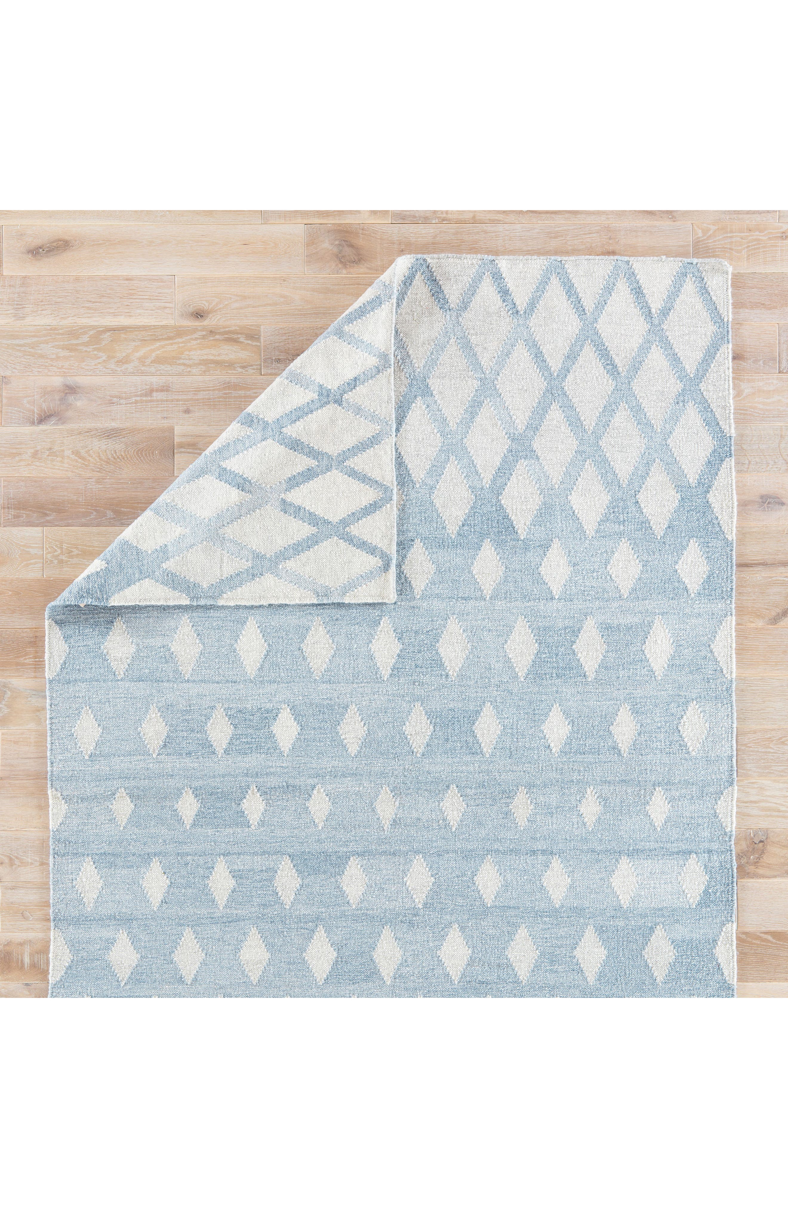 Pyramid Blocks Rug,                             Alternate thumbnail 6, color,                             Faded Denim/ Oatmeal