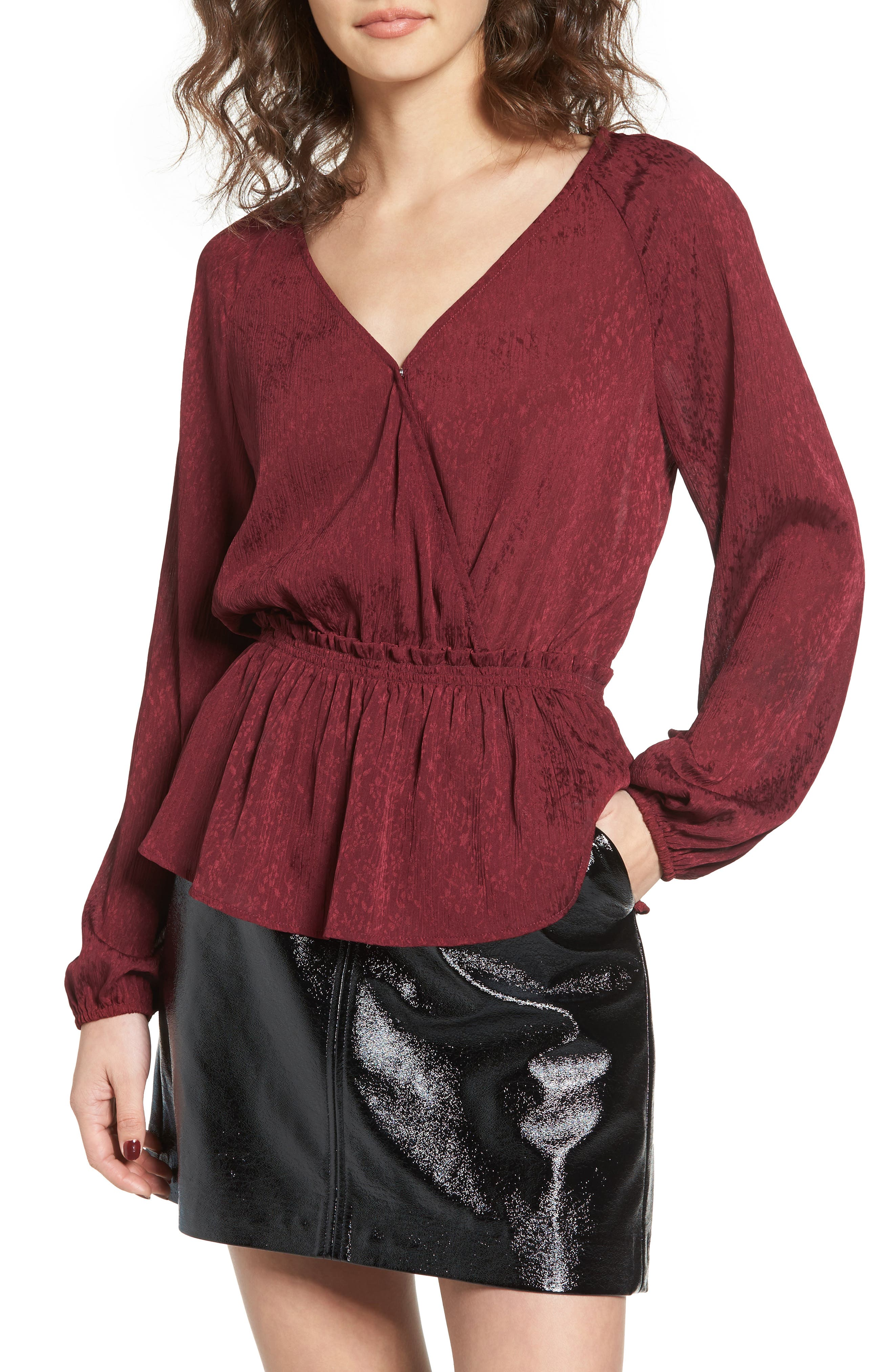 Faux Wrap Peplum Top,                         Main,                         color, Red Tannin