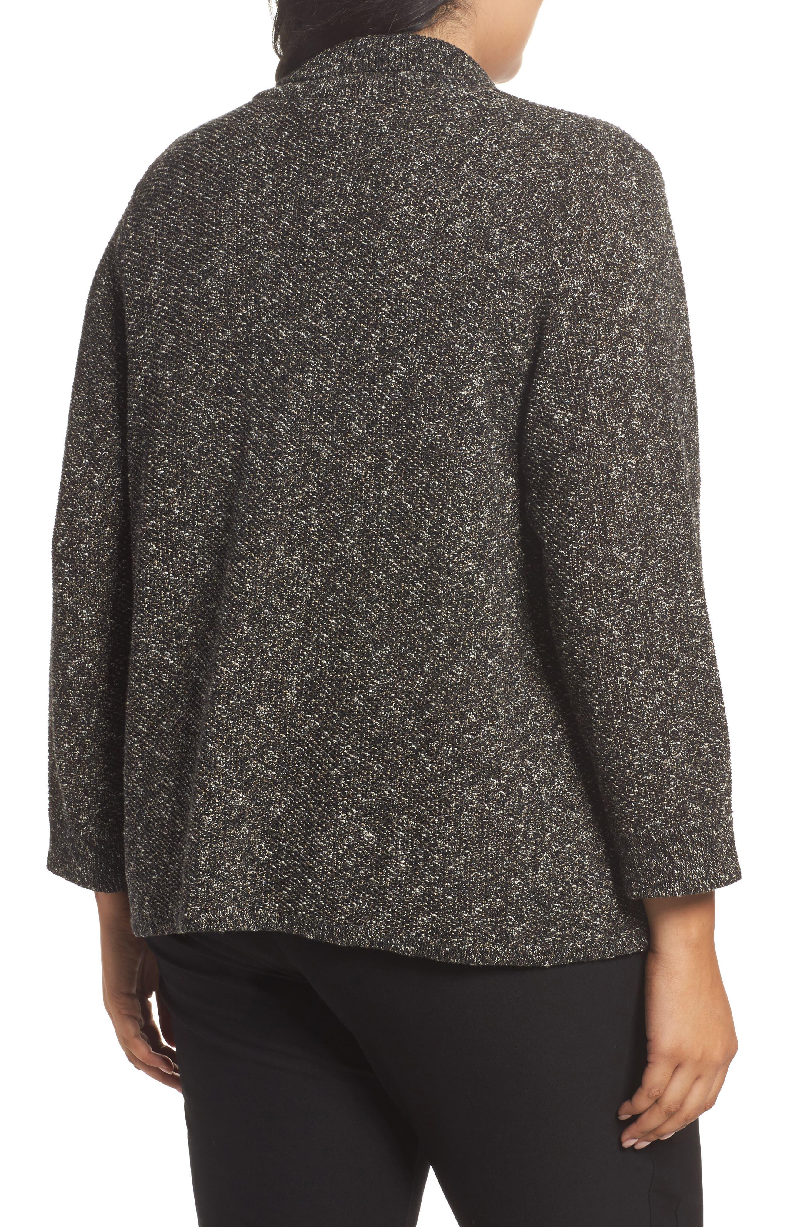Organic Cotton Blend Sweater Jacket,                             Alternate thumbnail 2, color,                             Black