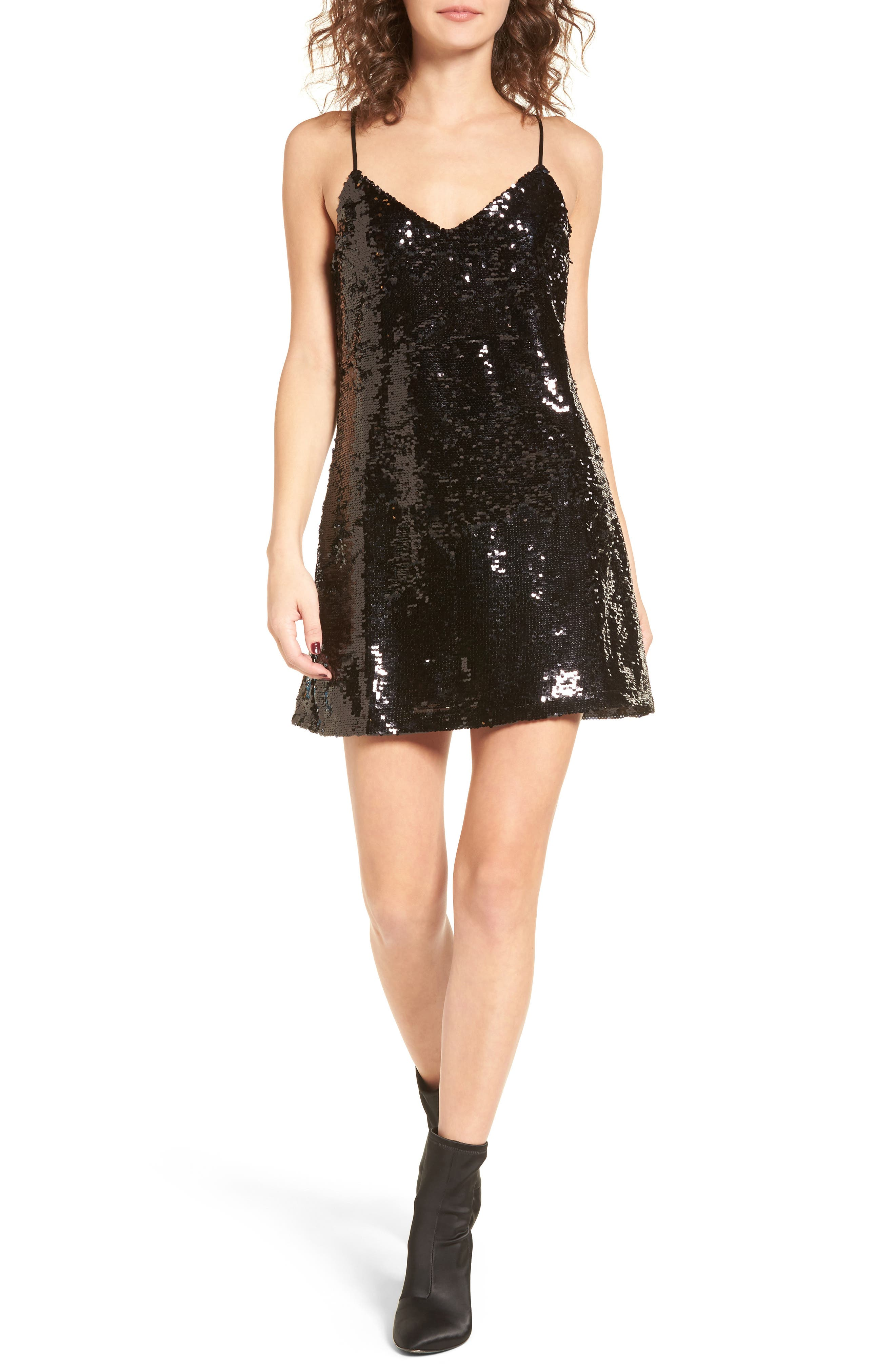 Bigby Sequin Slipdress,                             Main thumbnail 1, color,                             Black