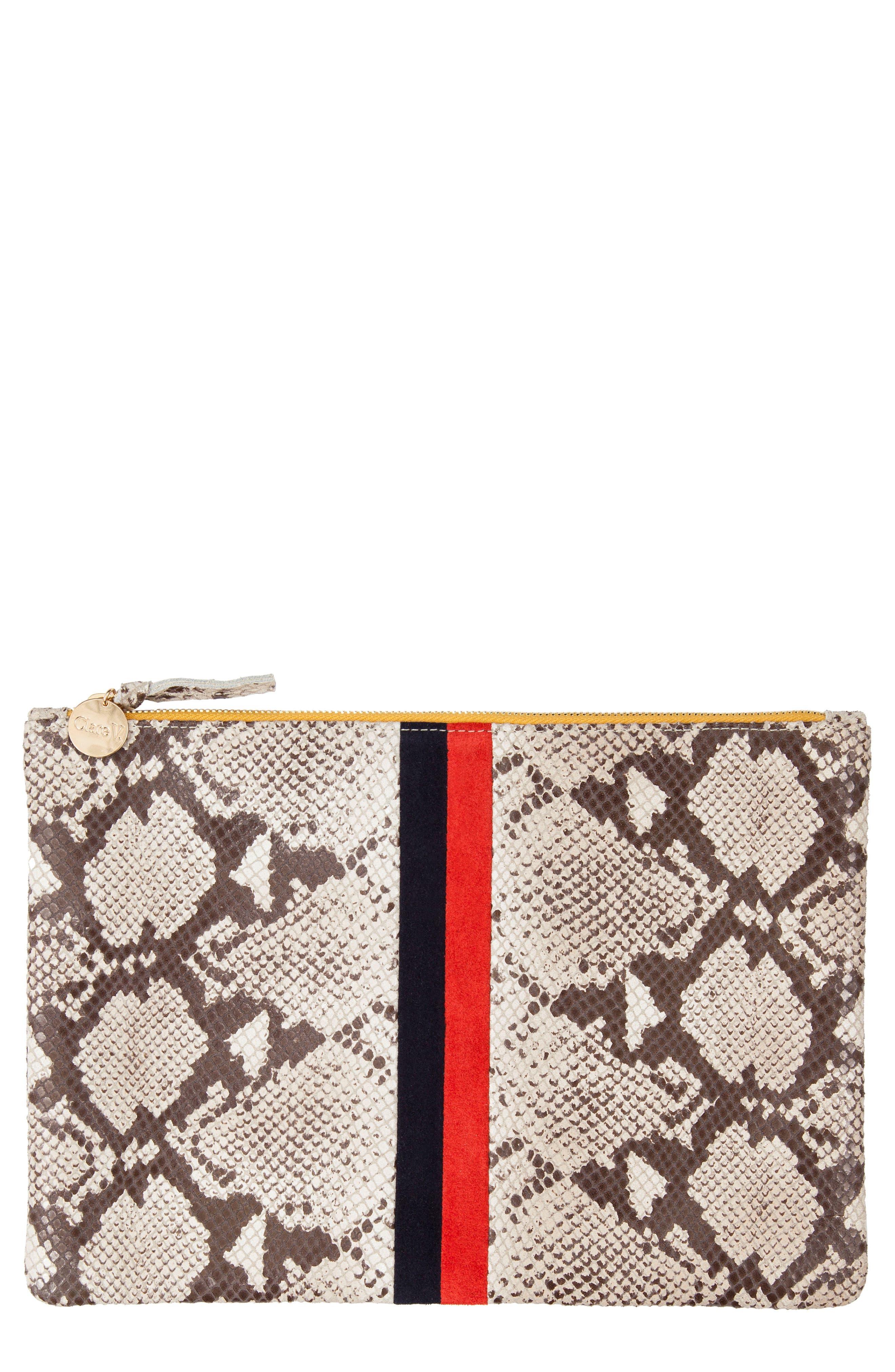 Clare V. Center Stripe Snakeskin Embossed Leather Clutch