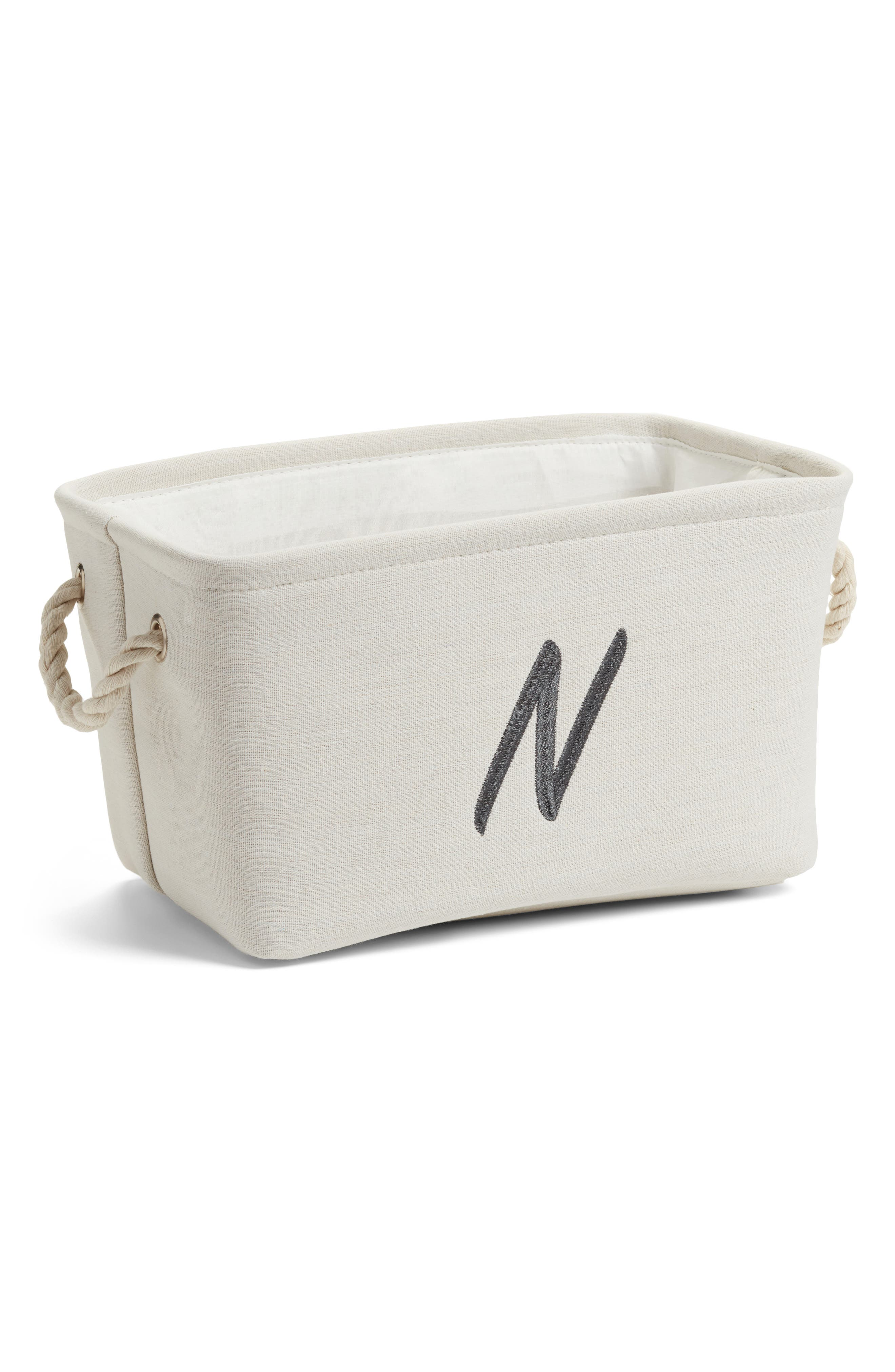 Initial Monogram Storage Basket,                             Main thumbnail 1, color,                             Ivory-N