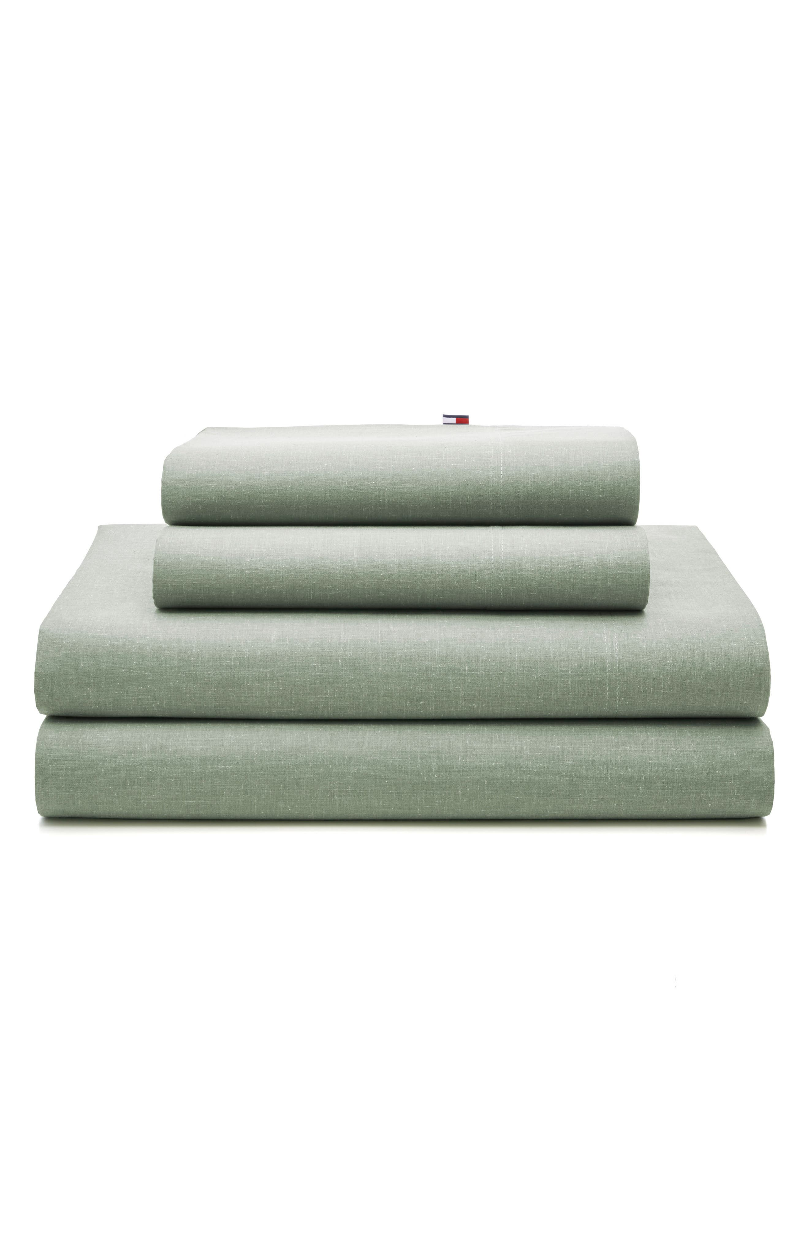 Chambray Pillowcases,                         Main,                         color, Olive Green