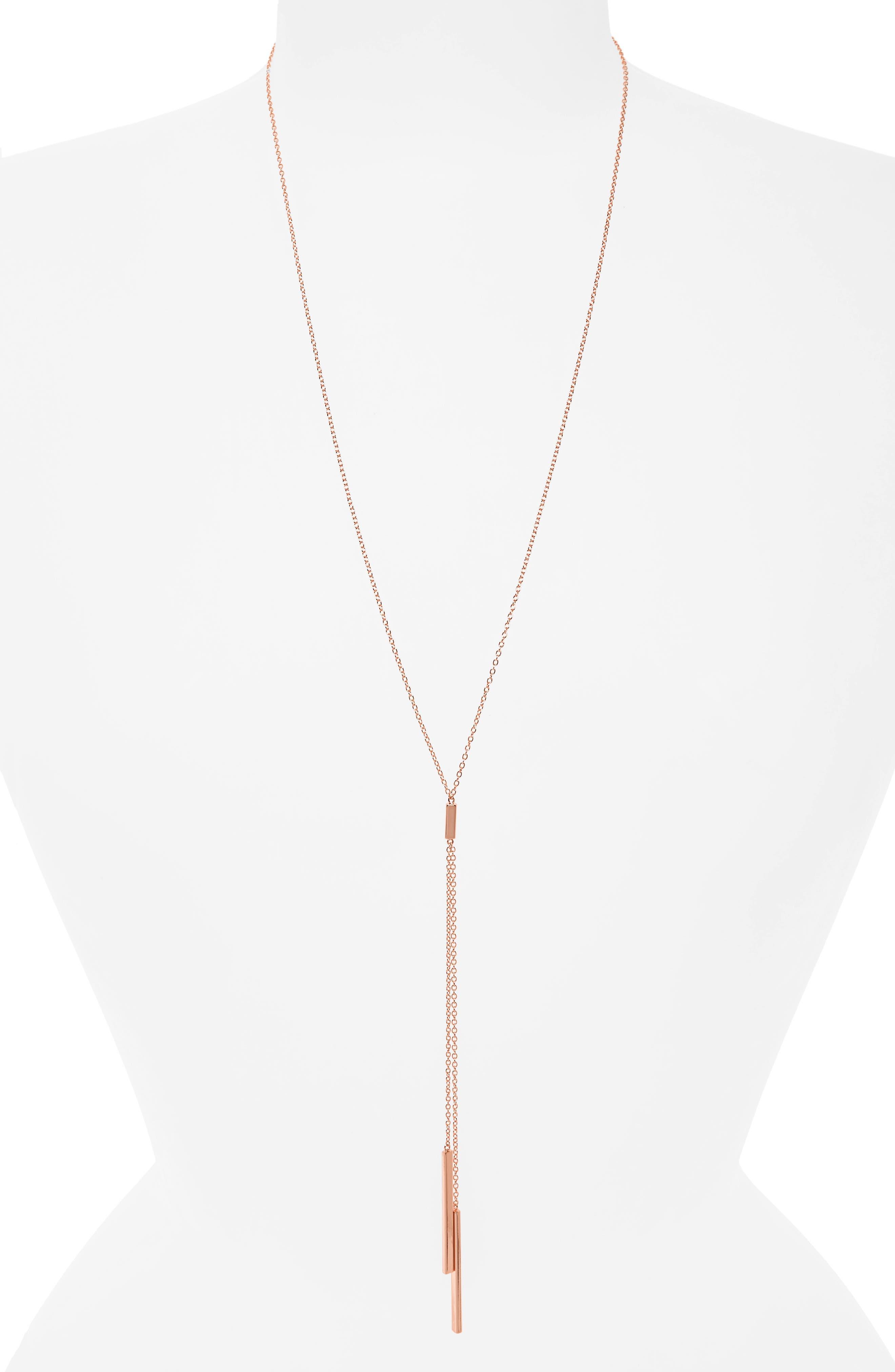 'Mave' Lariat Necklace,                             Alternate thumbnail 2, color,                             Rose Gold