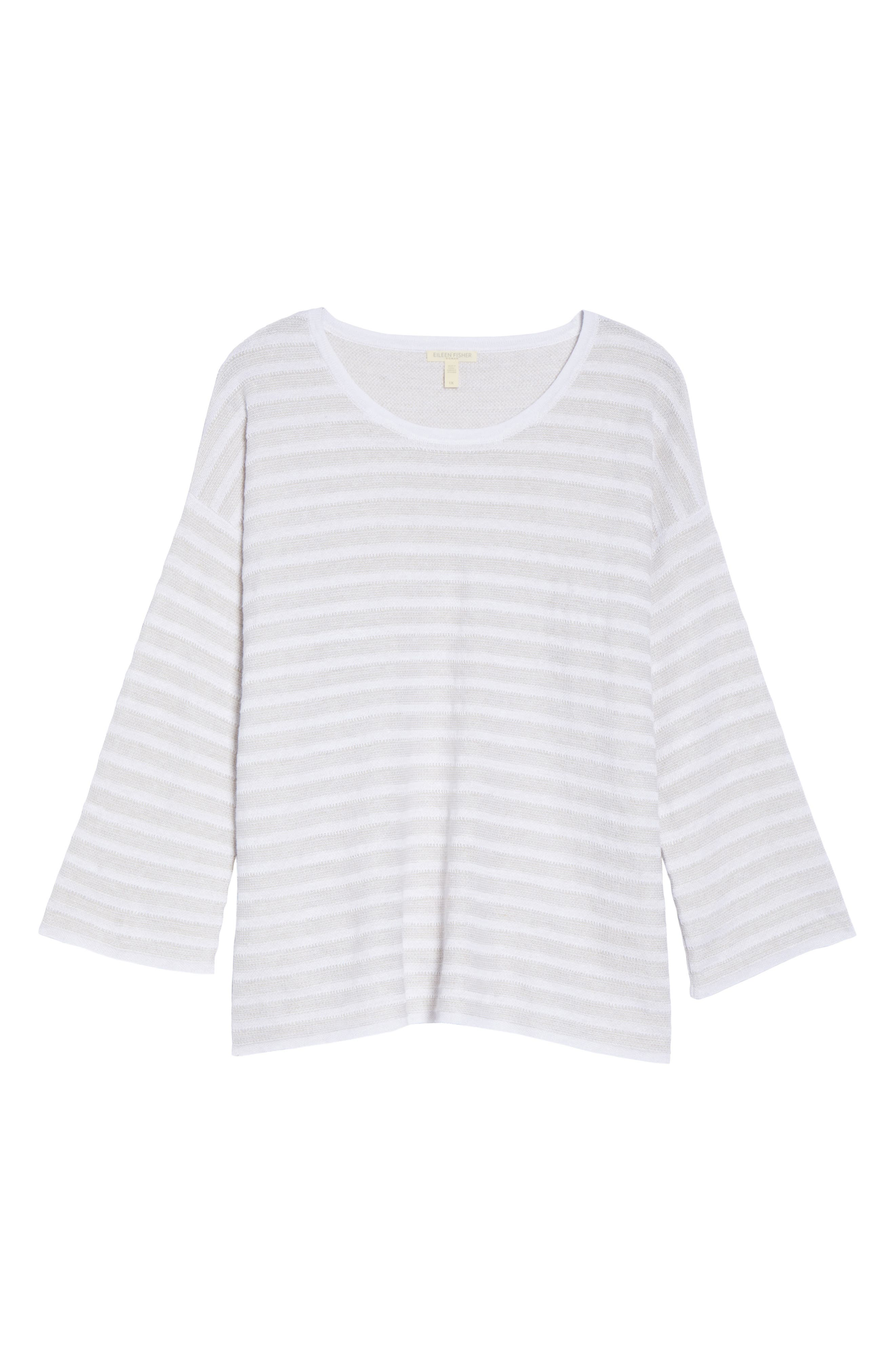Alternate Image 6  - Eileen Fisher Textured Organic Linen Sweater (Plus Size)