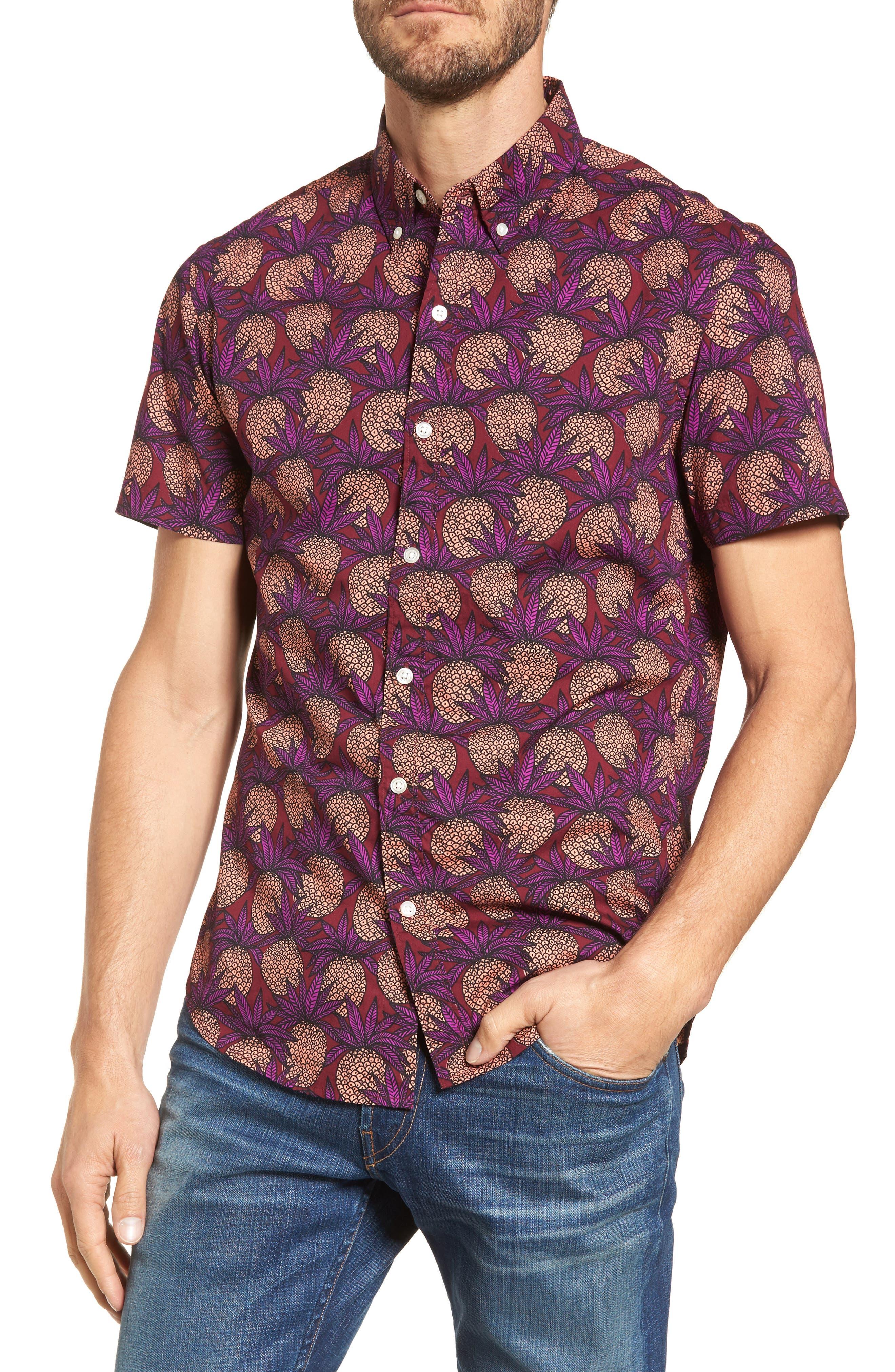 Slim Fit Pineapple Sport Shirt,                             Main thumbnail 1, color,                             Pineapple Fields Sangria
