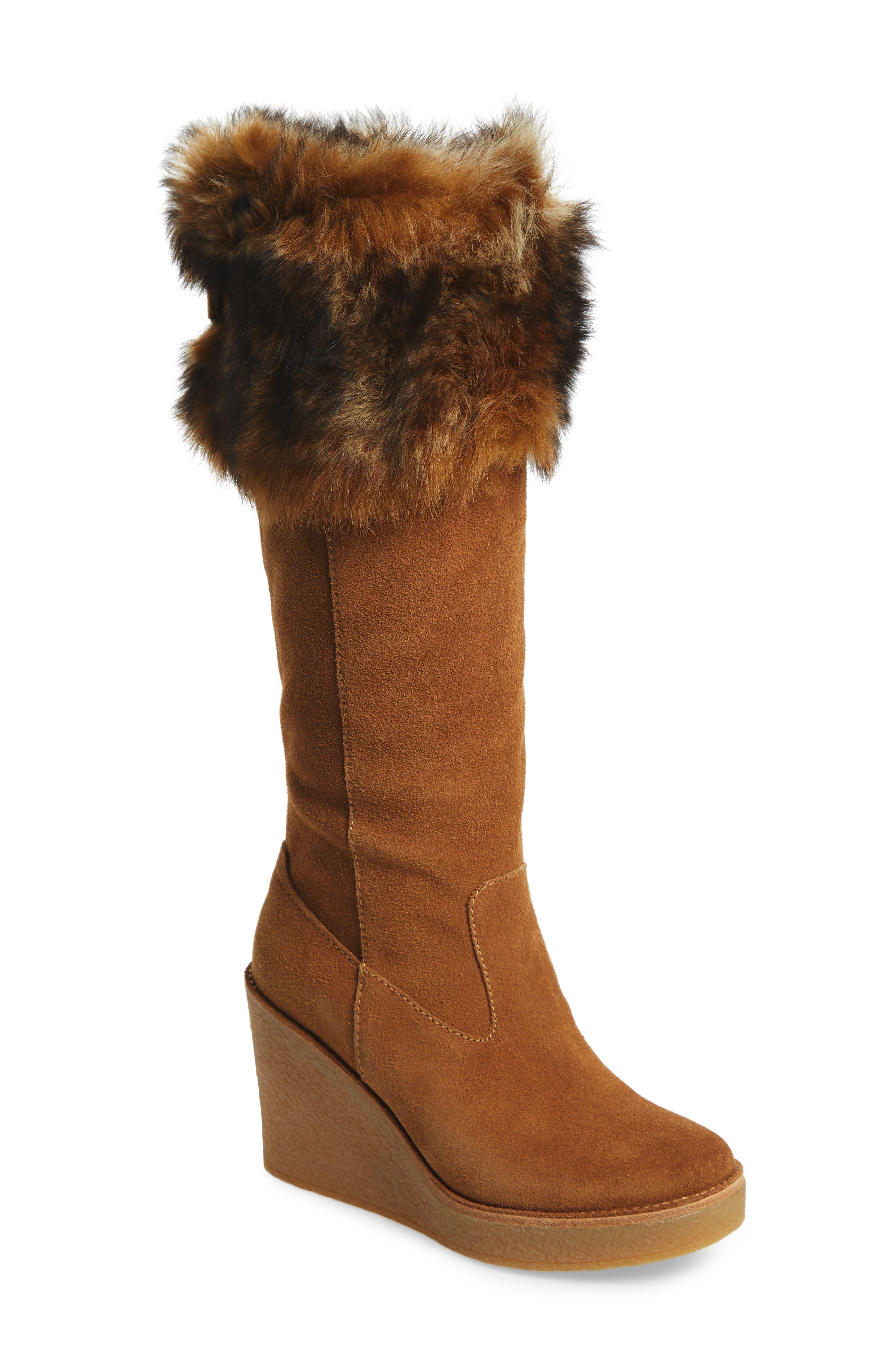 UGG® Valberg Genuine Shearling Cuff Wedge Boot (Women)