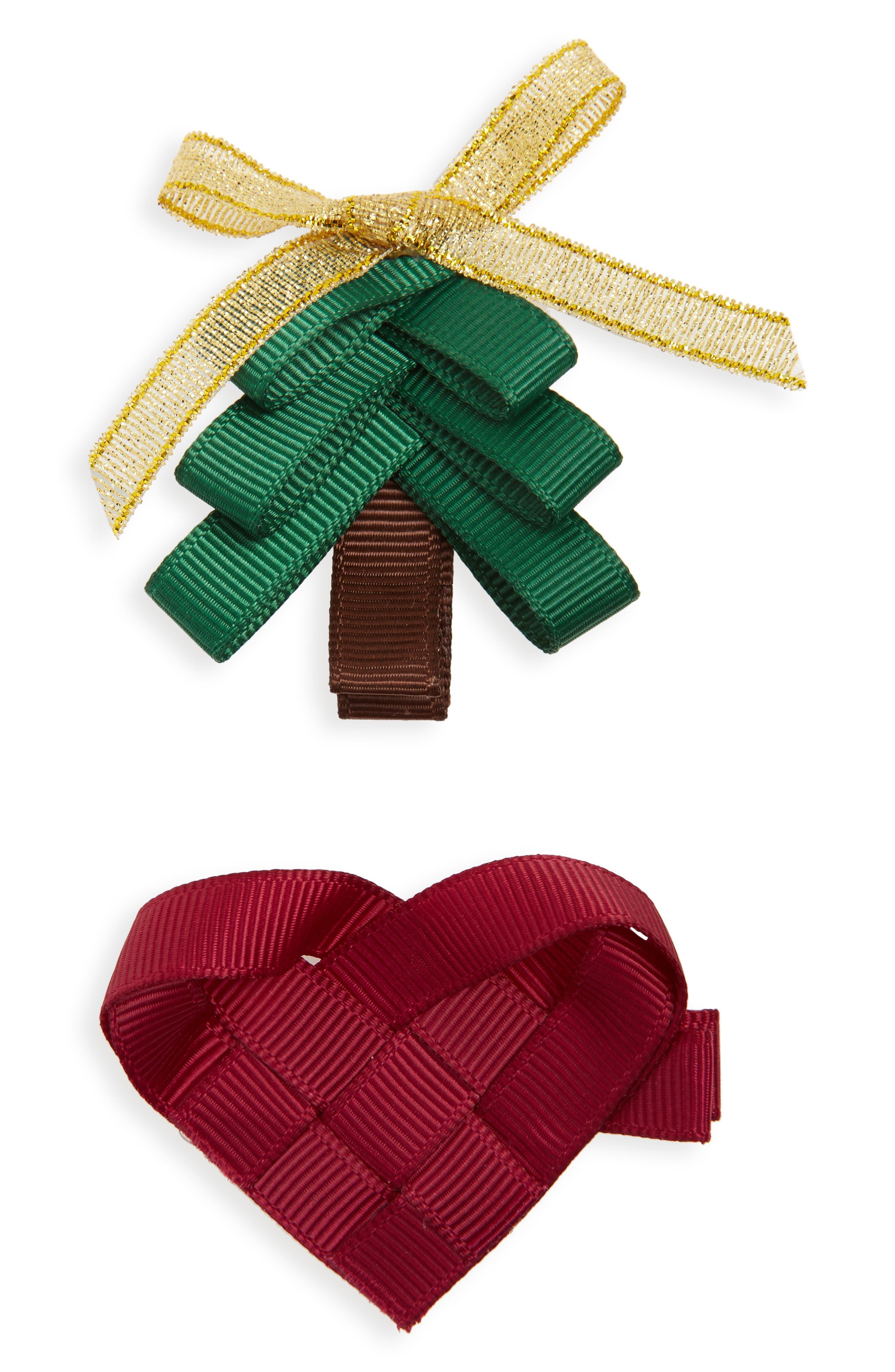 Milledeux 2-Piece Tree & Heart Hair Clip Set (Girls)
