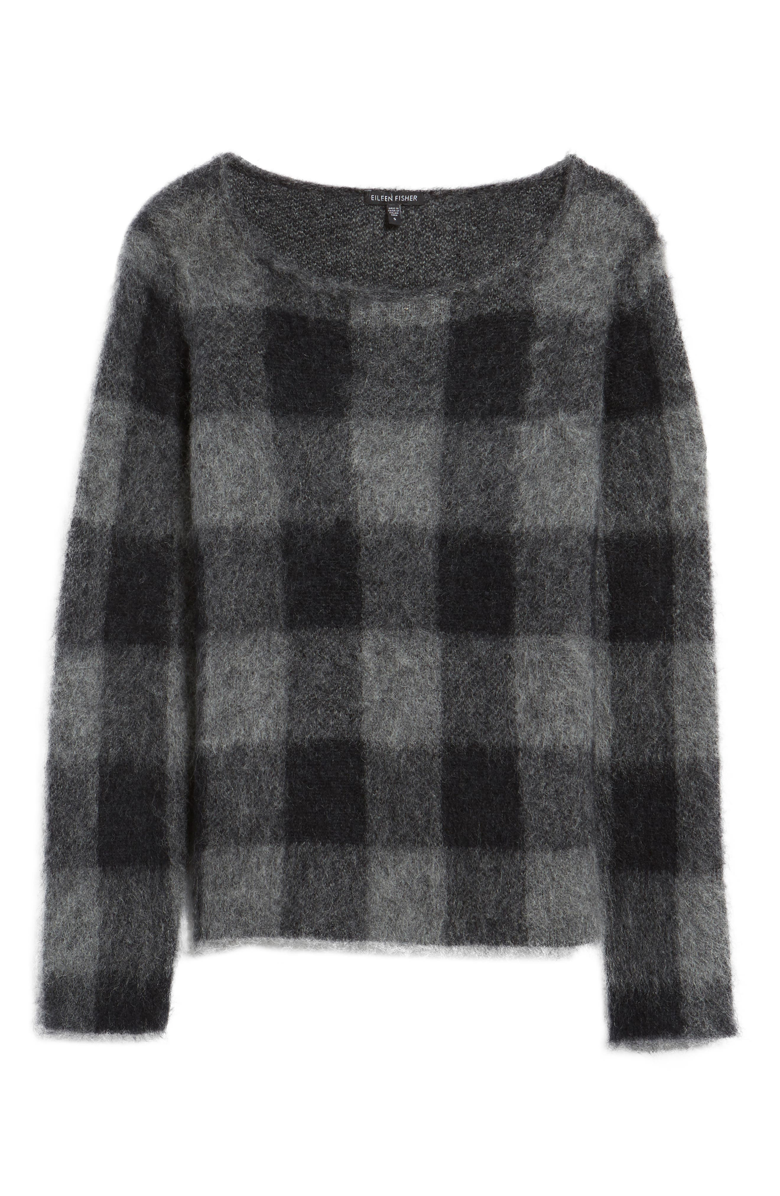 Check Plaid Sweater,                             Alternate thumbnail 6, color,                             Ash