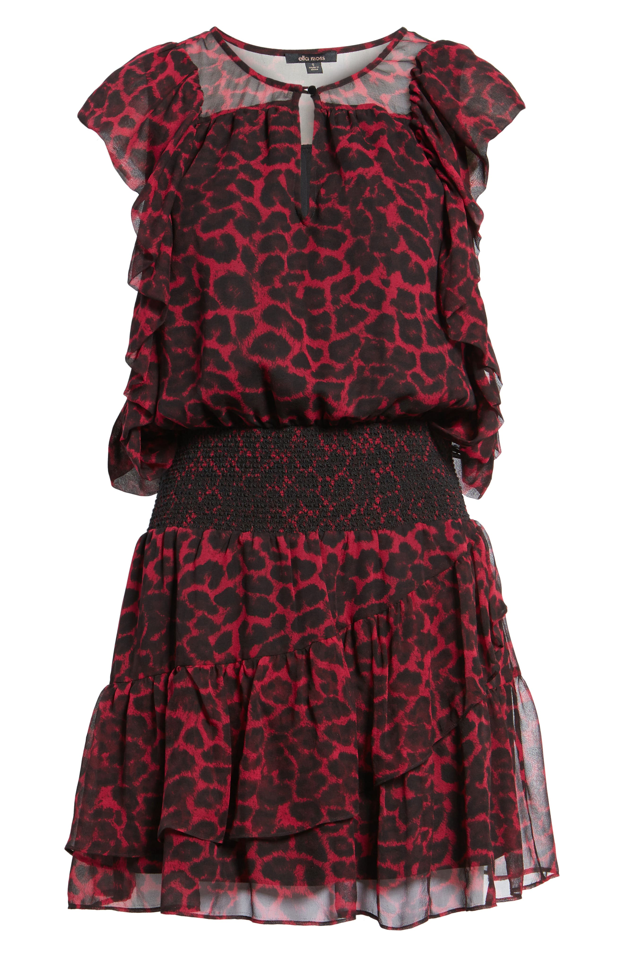 Tigris Smock Waist Dress,                             Alternate thumbnail 6, color,                             Hollyberry