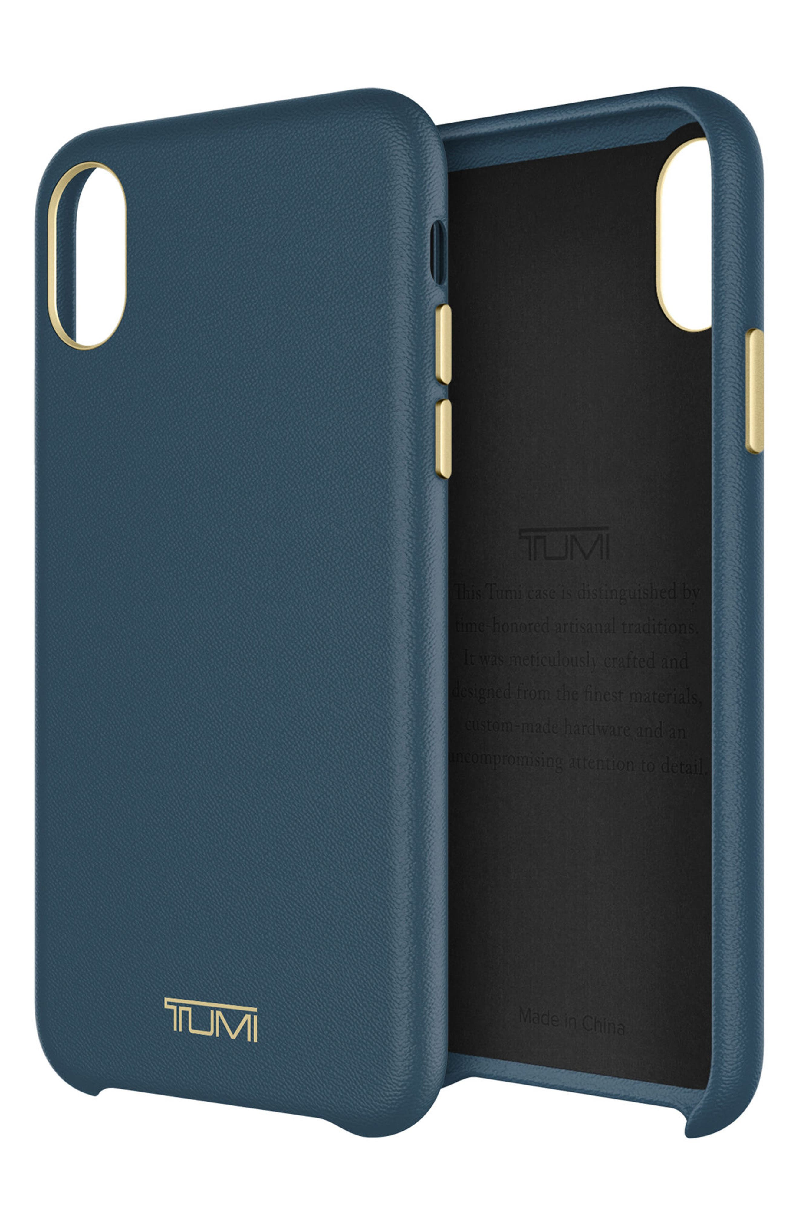 Leather iPhone X Case,                             Alternate thumbnail 6, color,                             Navy