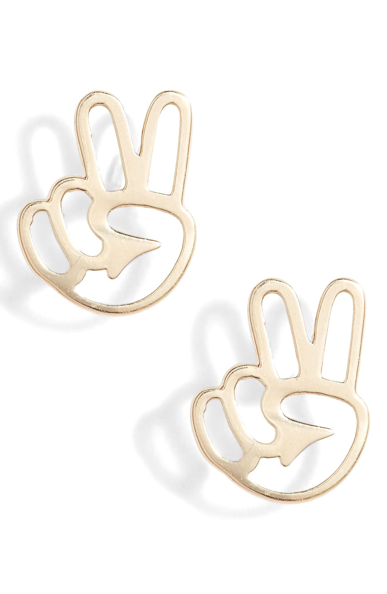 Peace Out Stud Earrings,                         Main,                         color, Yellow Gold