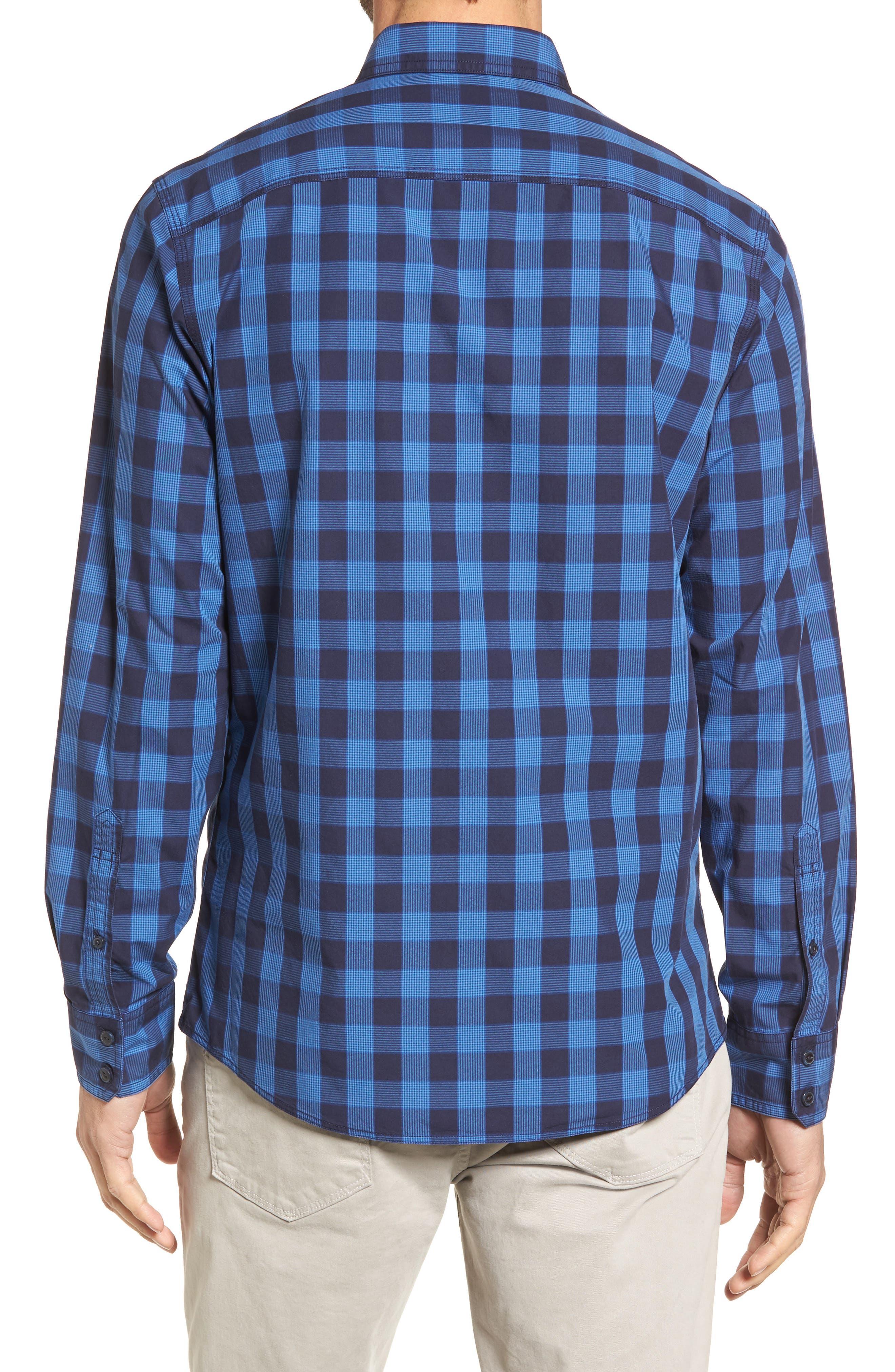 Trim Fit Plaid Trucker Sport Shirt,                             Alternate thumbnail 3, color,                             Navy Iris Blue Check