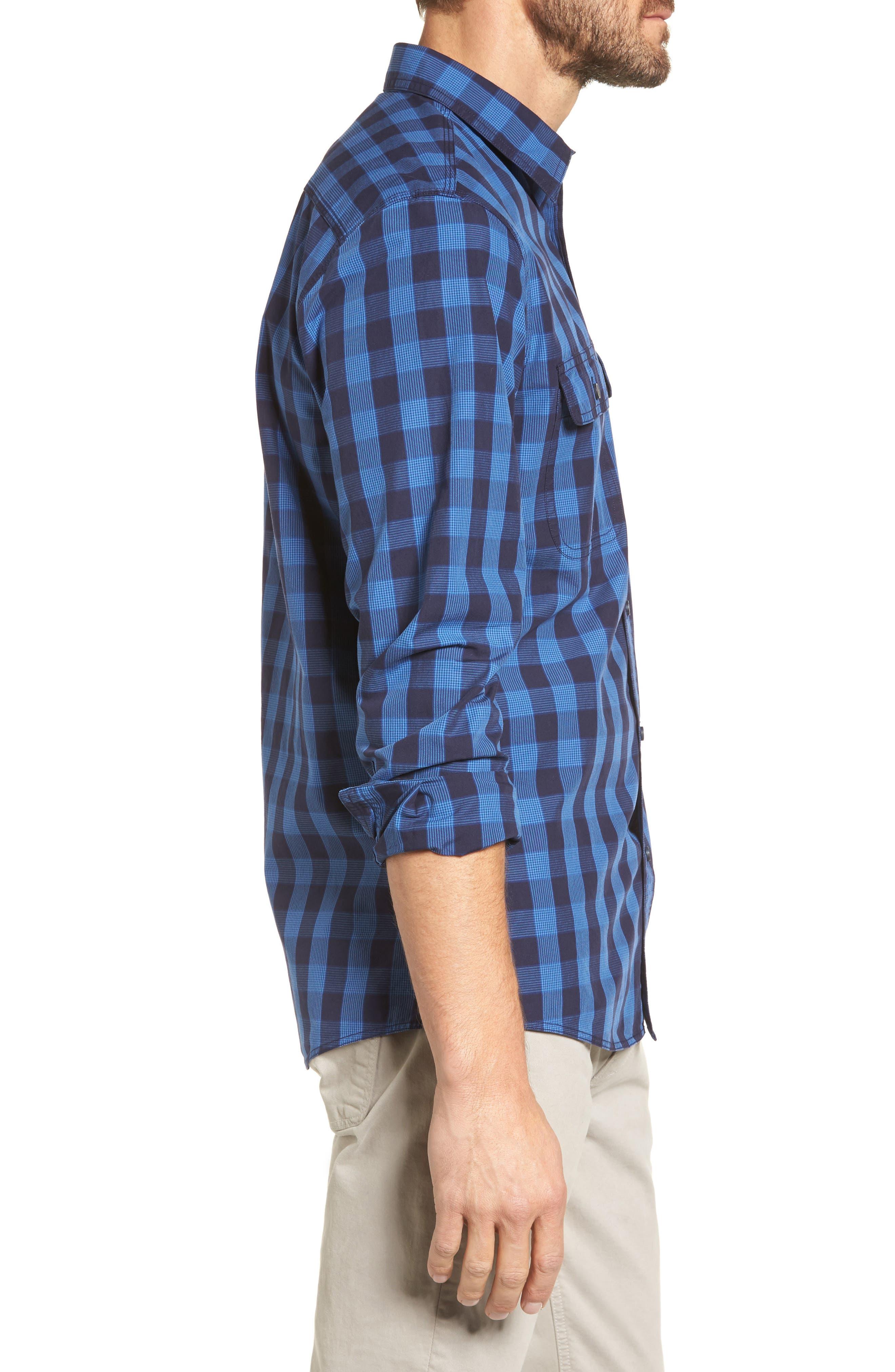Trim Fit Plaid Trucker Sport Shirt,                             Alternate thumbnail 4, color,                             Navy Iris Blue Check