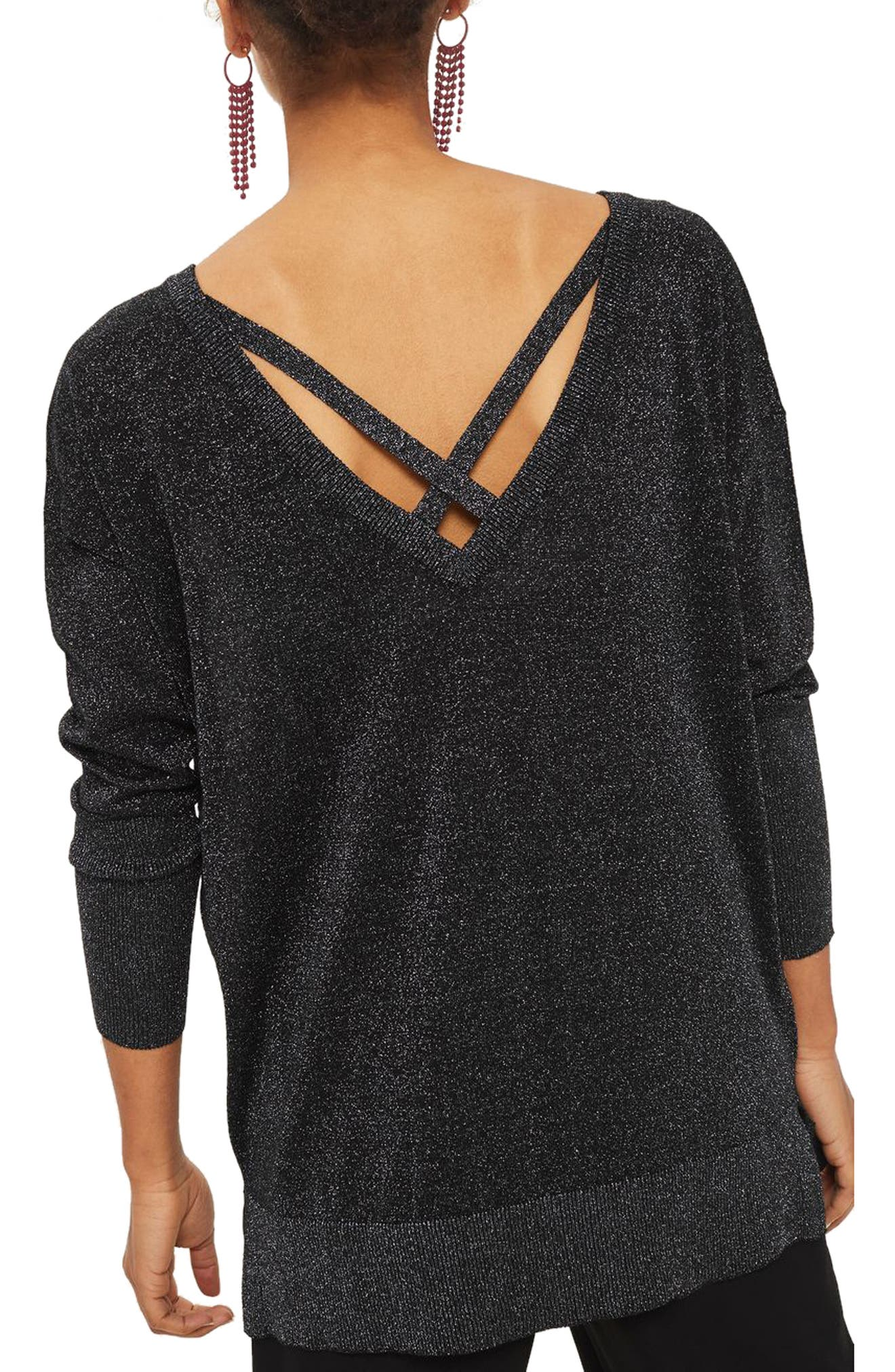 Cross Back Longline Metallic Sweater,                             Alternate thumbnail 2, color,                             Black