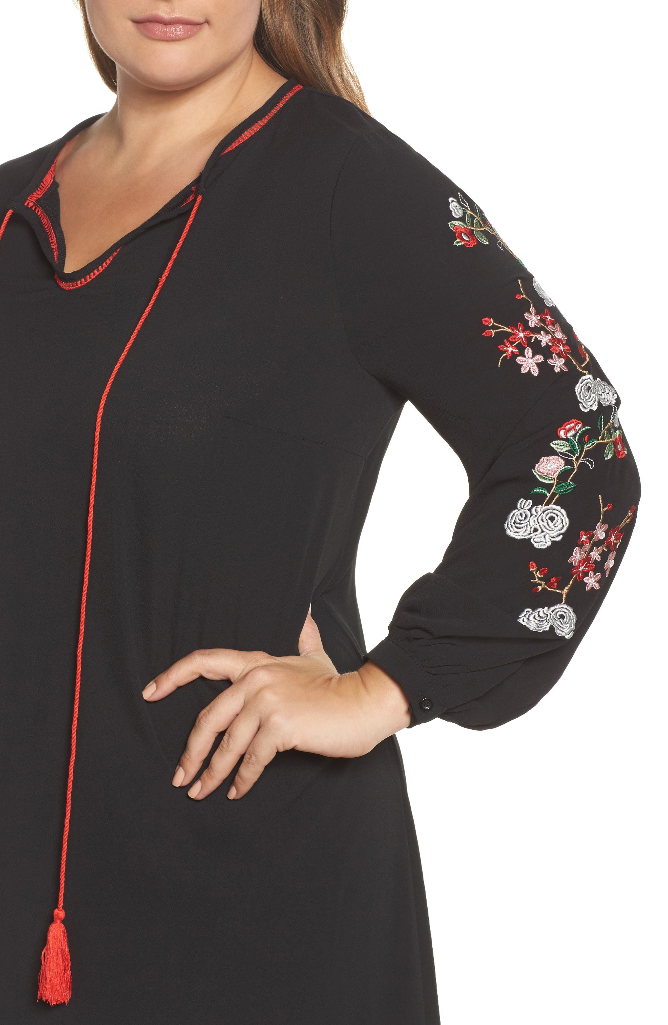 Floral Embroidered Shift Dress,                             Alternate thumbnail 4, color,                             Black