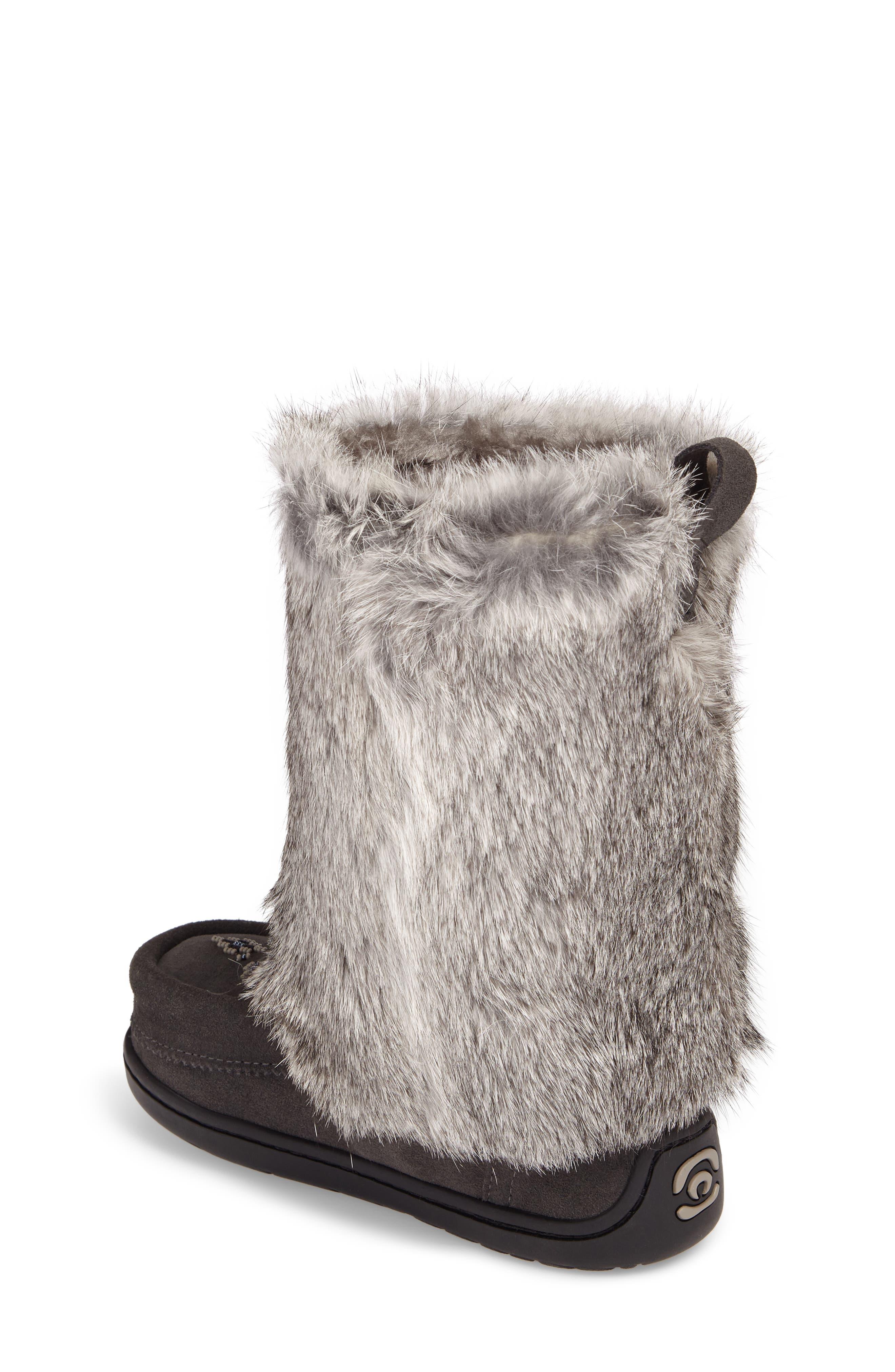 Nordic Genuine Rabbit Fur & Genuine Shearling Mukluk Boot,                             Alternate thumbnail 2, color,                             Charcoal