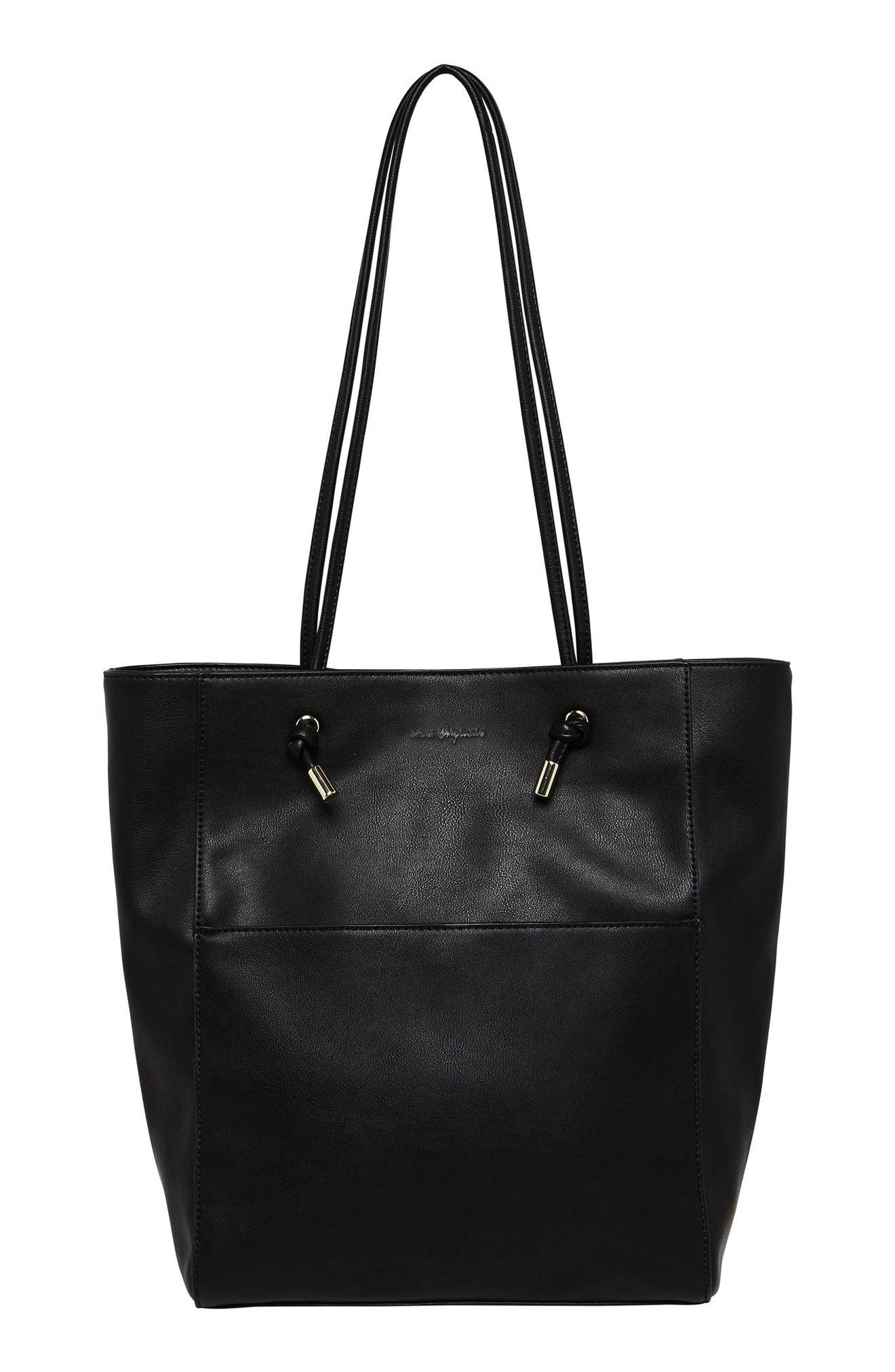 Gods & Goddesses Vegan Leather Tote,                             Main thumbnail 1, color,                             Black