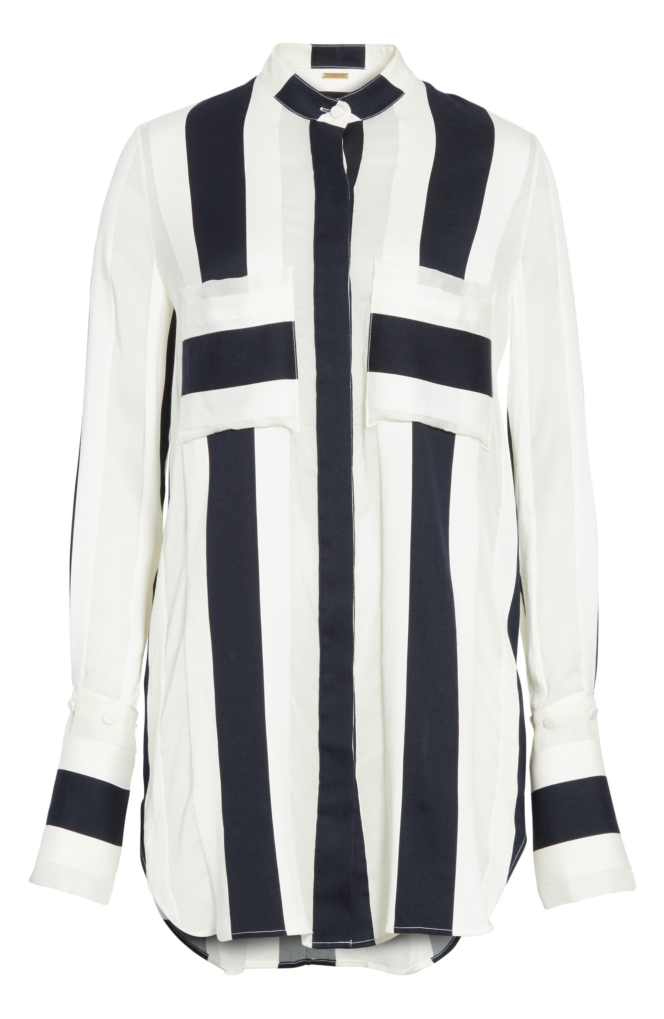 Cotton & Silk Stripe Jacquard Blouse,                             Alternate thumbnail 6, color,                             Black/ White