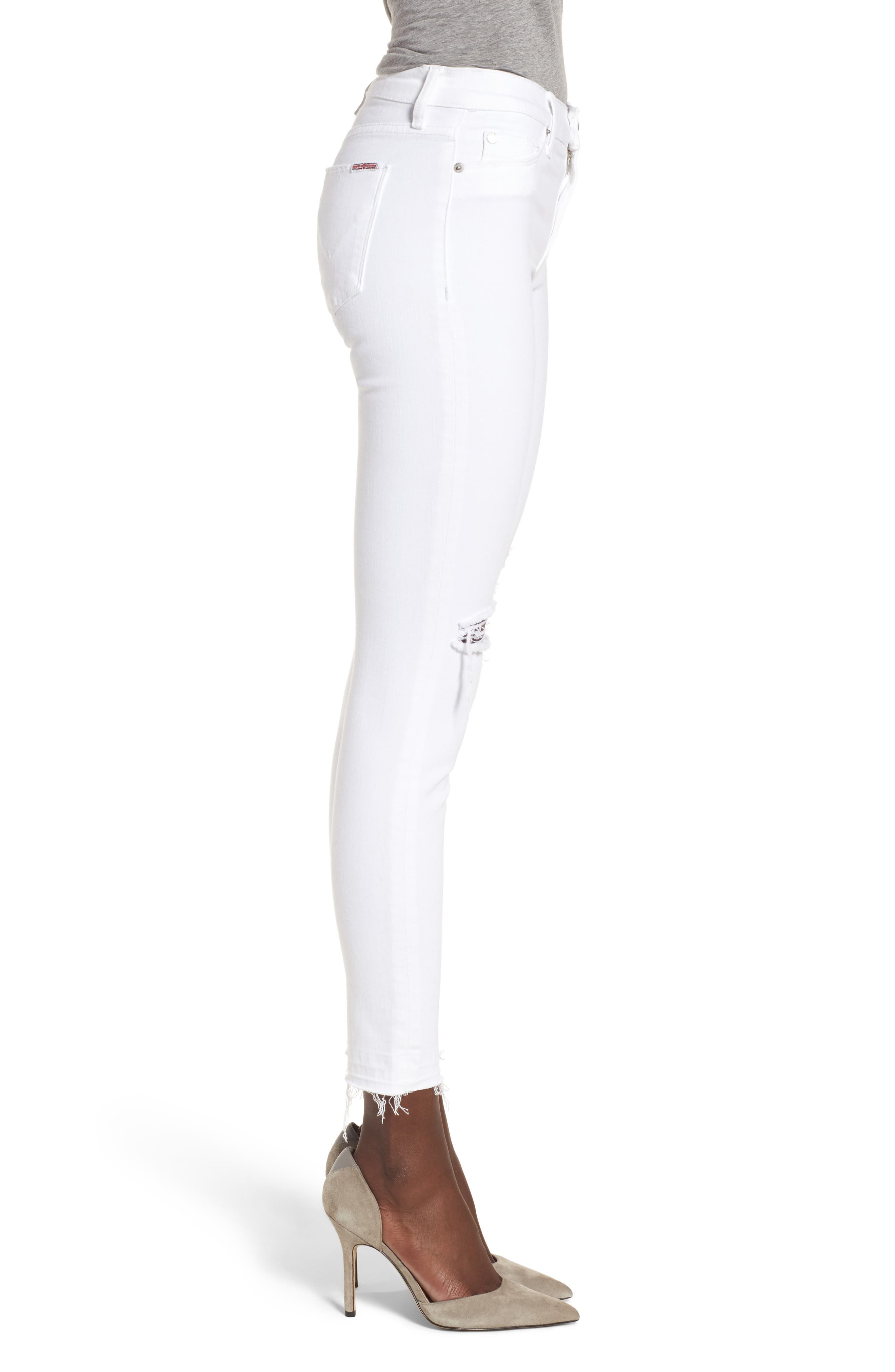 Nico Ankle Super Skinny Jeans,                             Alternate thumbnail 3, color,                             Optical White Destructed