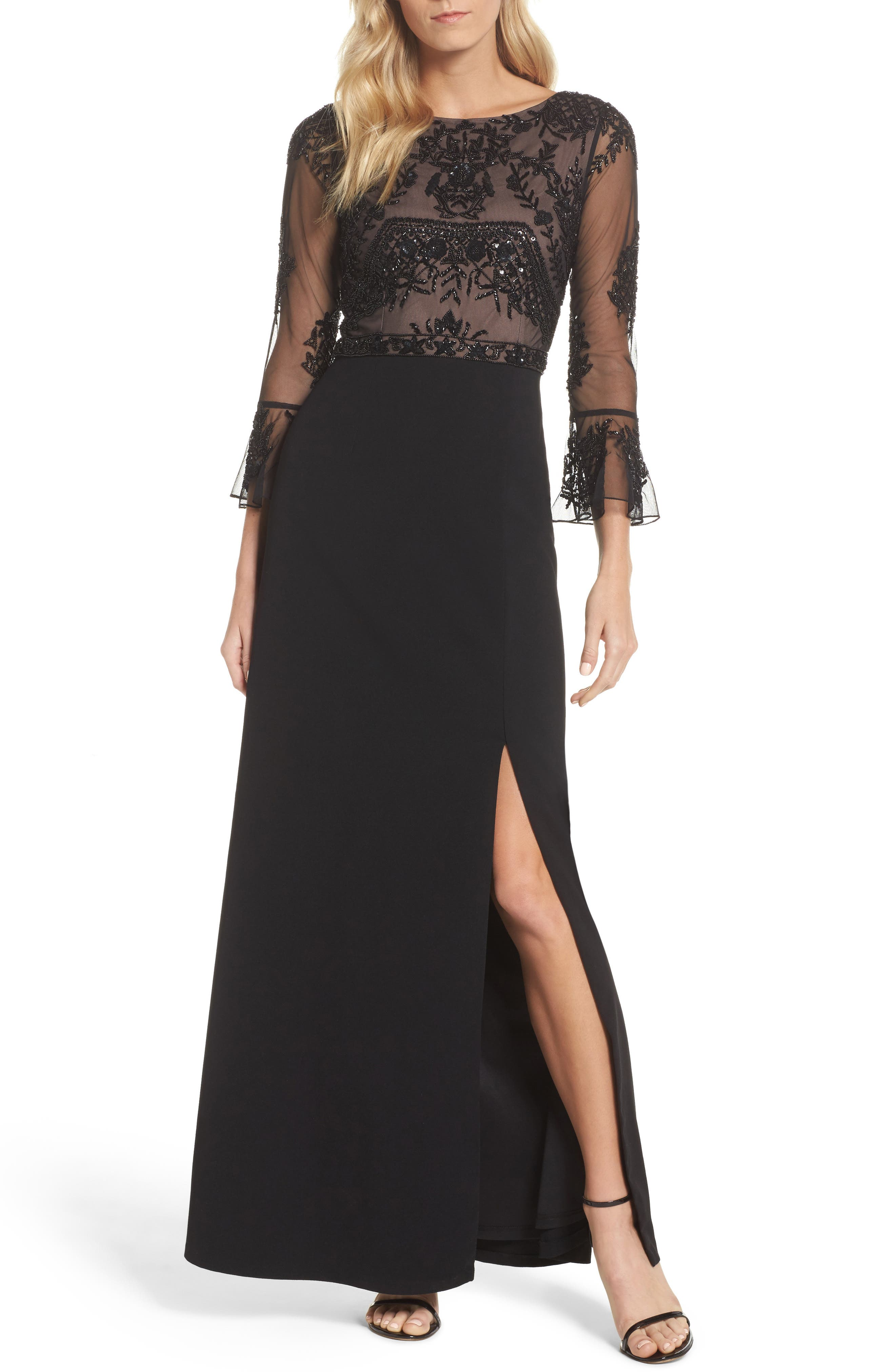 Embellished Ruffle Sleeve Mesh & Crepe Gown,                             Main thumbnail 1, color,                             Black