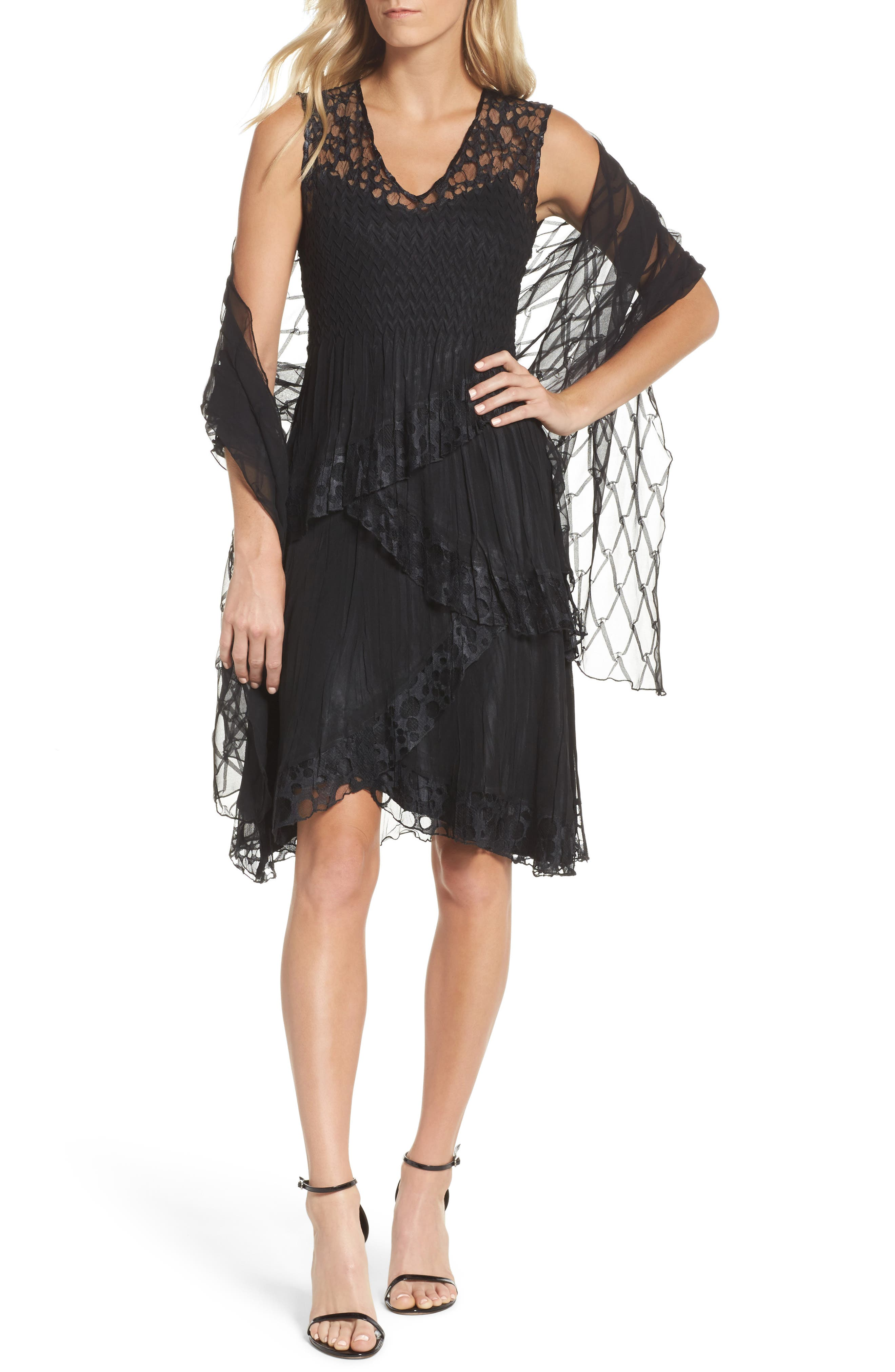 Circle Lace Tiered Dress with Wrap,                             Main thumbnail 1, color,                             Black